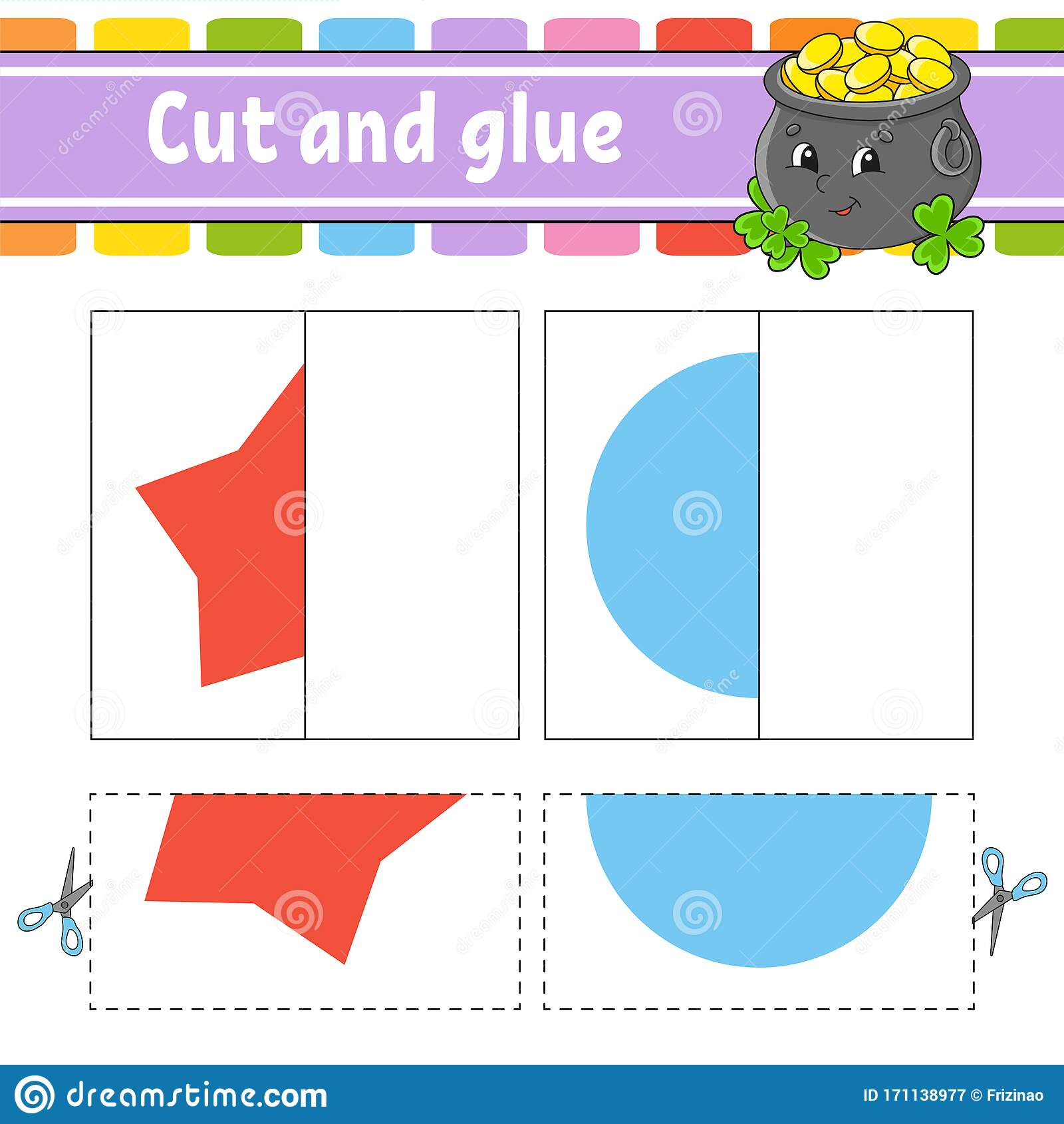 Cut And Play Paper Game With Glue Flash Cards Pot Star