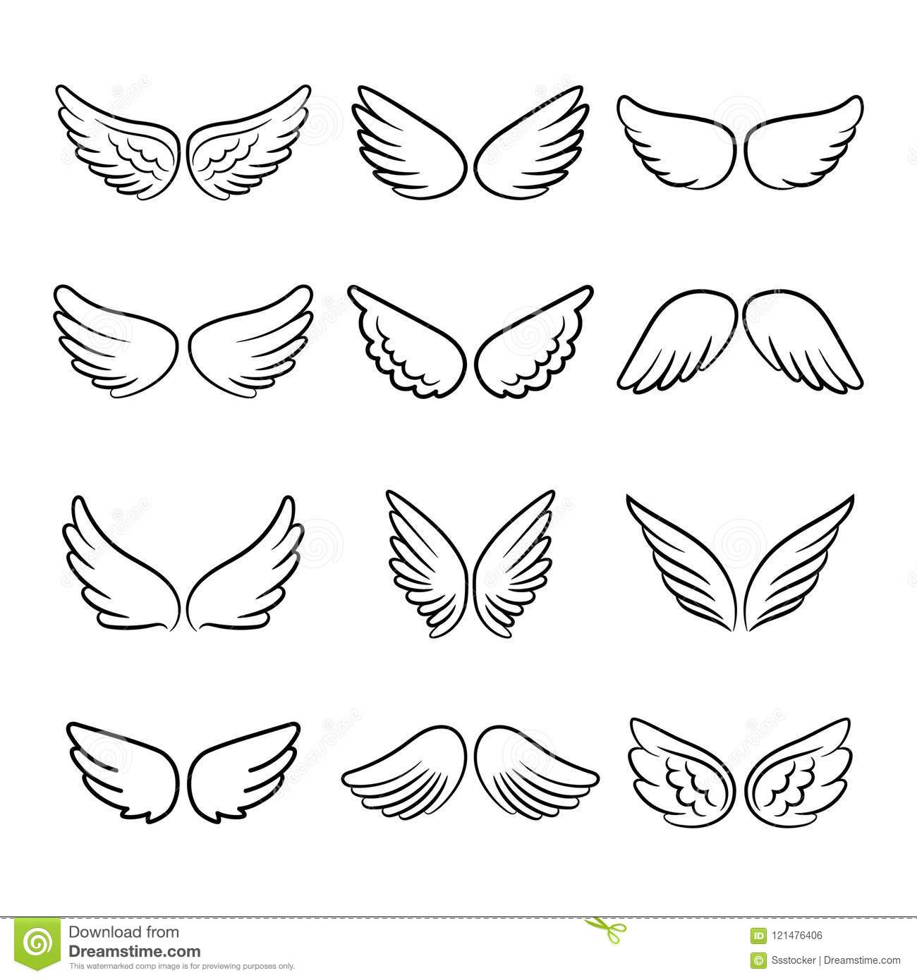 Cute Angel Wings Set Stock Vector Illustration Of