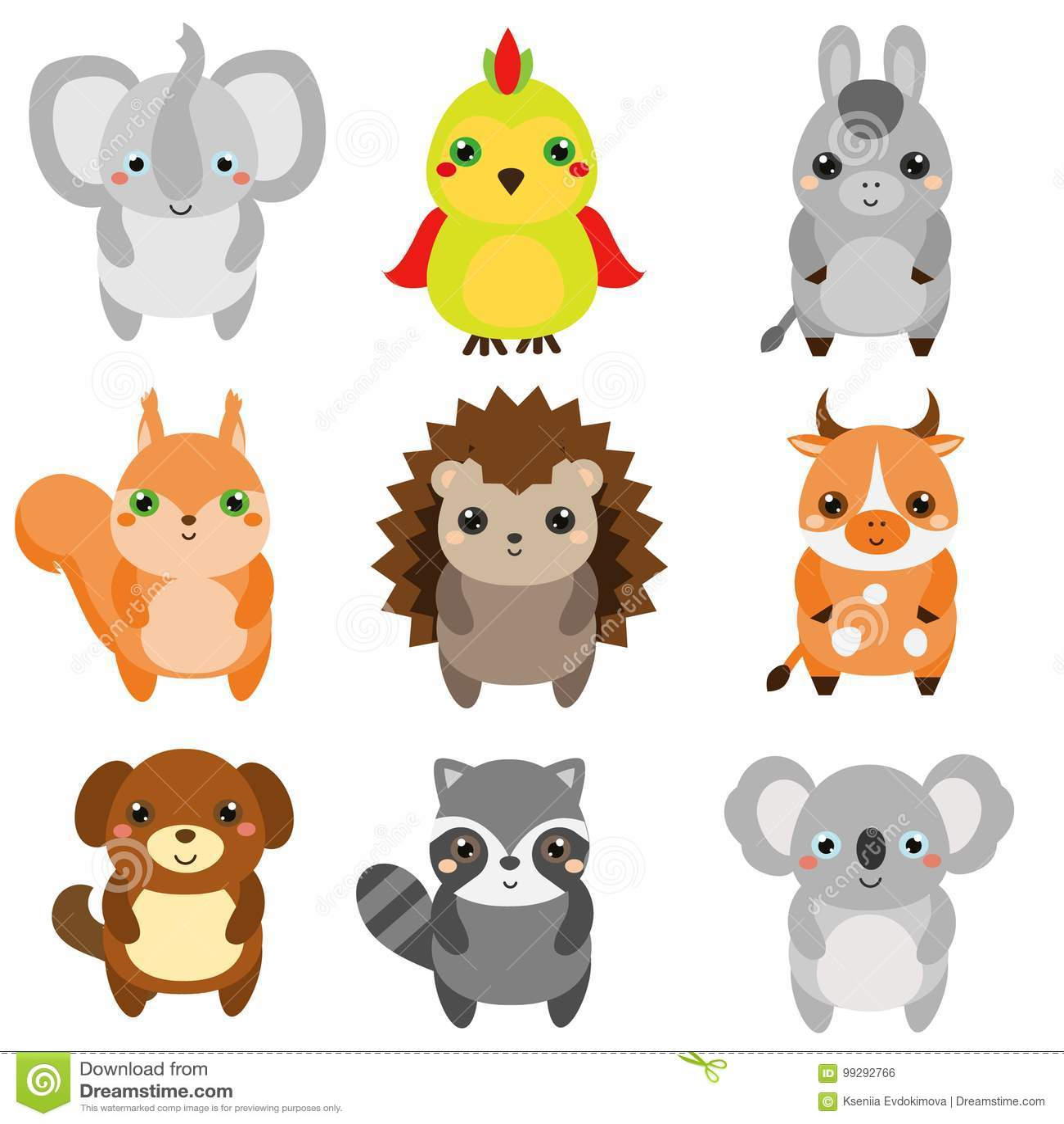 Cute Animals Children Style Design Elements Vector