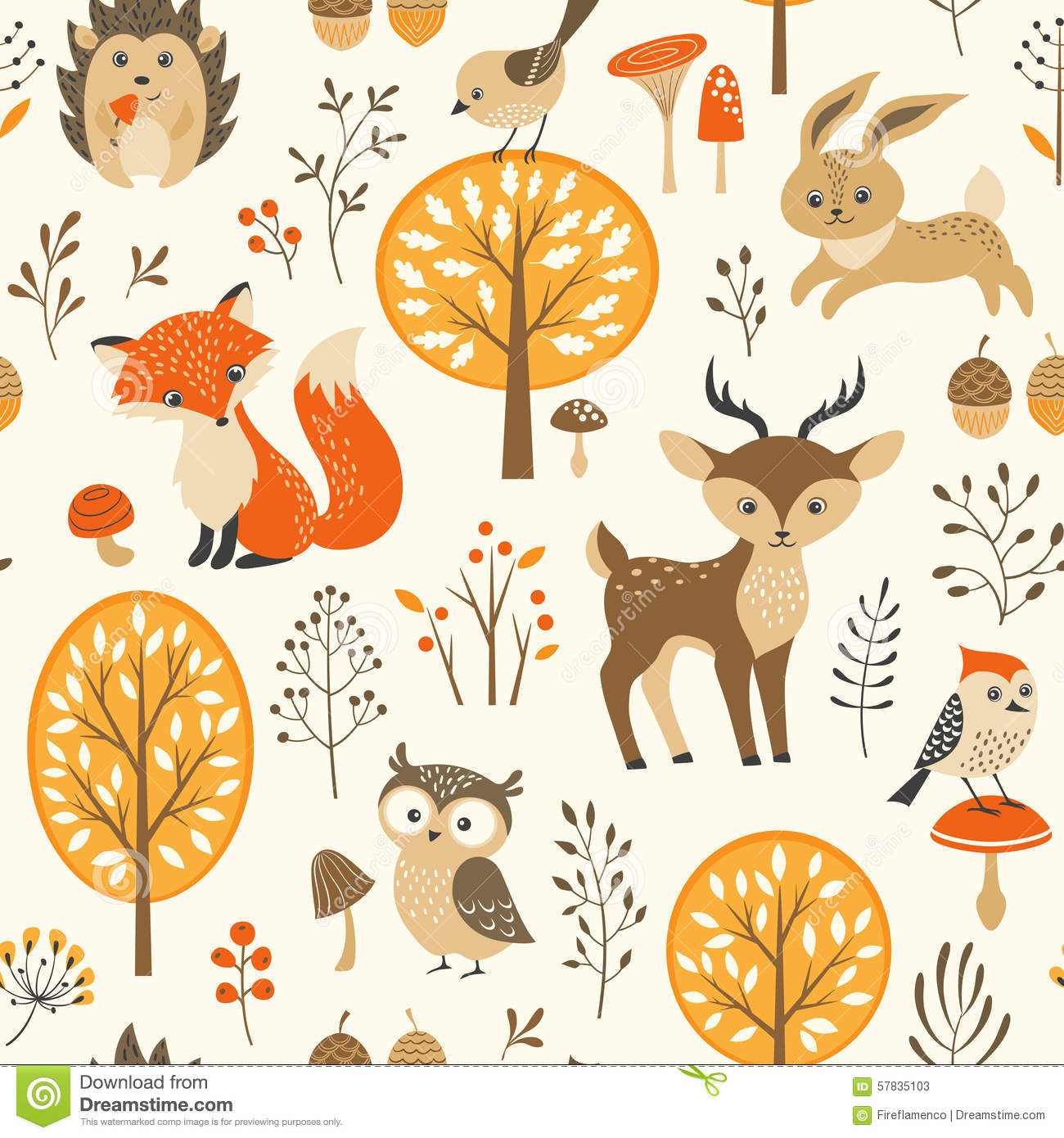 Cute Autumn Forest Pattern Stock Vector