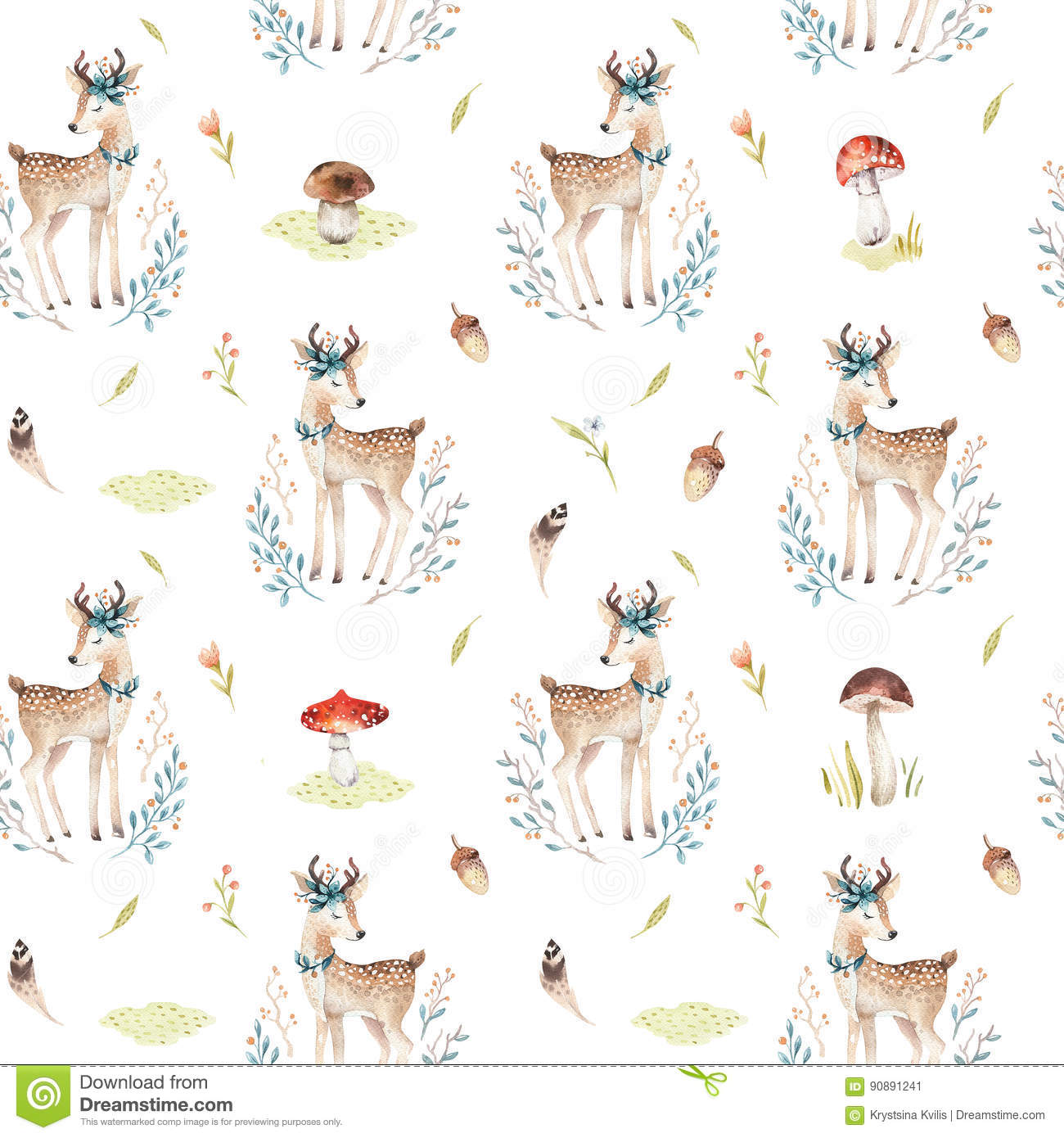 Cute Baby Deer Animal Seamless Pattern For Kindergarten Nursery Isolated Illustration For