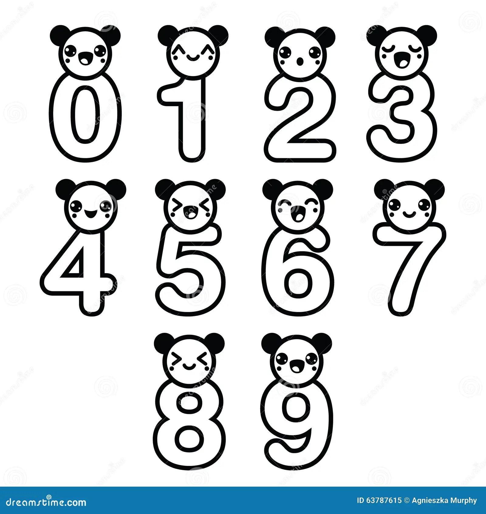Cute Bear Kawaii Numbers Set