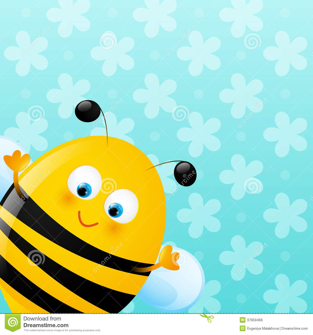 Cute Bee On Blue Background Stock Vector Illustration Of