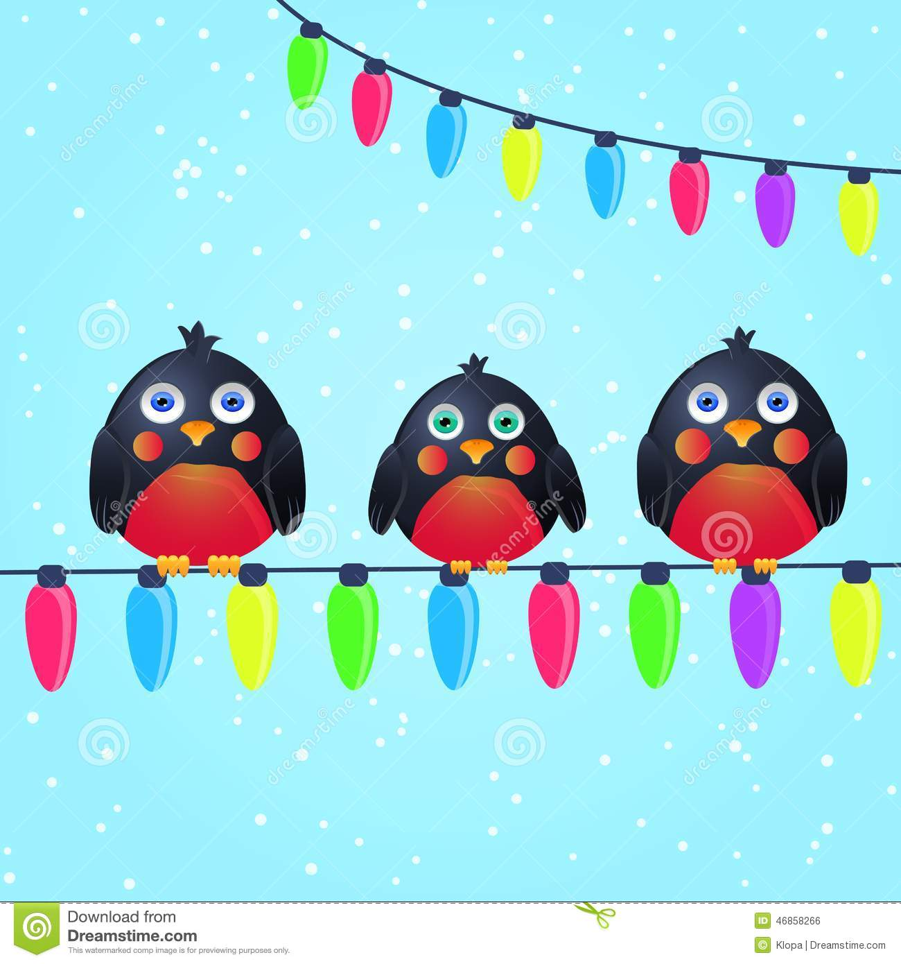 Cute Birds On Wire With Christmas Light Bulbs Stock Vector