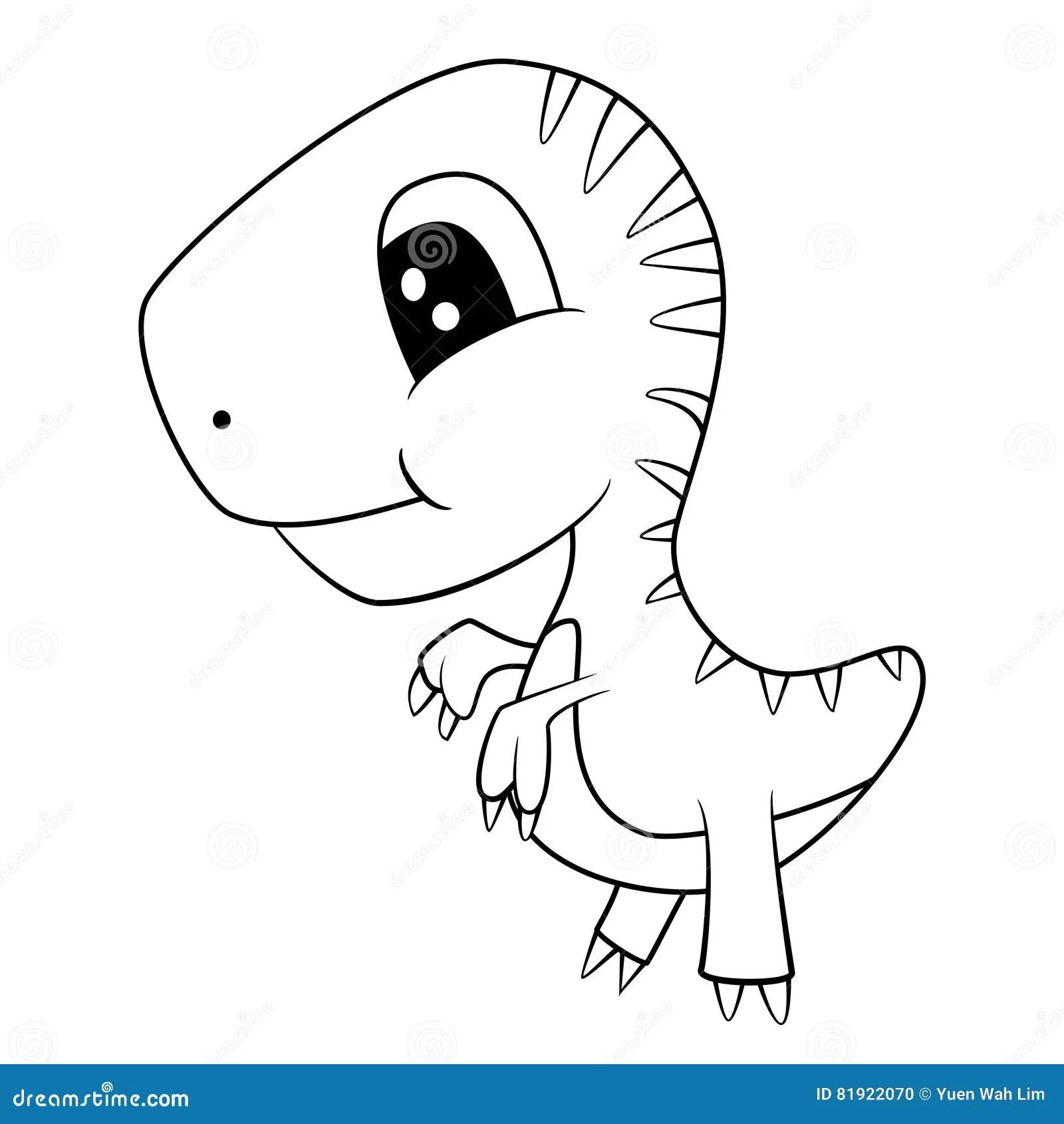 T Rex Dinosaur Black And White Stock Illustration