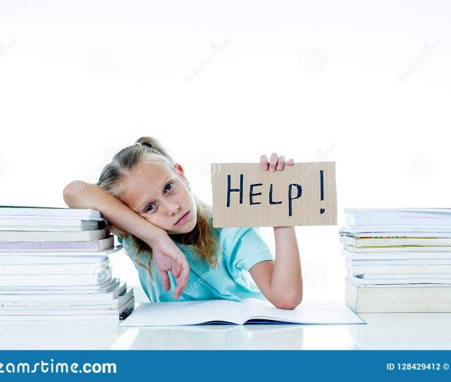 Cute Blonde Schoolgirl Holding A Help Sign Looking Stressed With Her Homework And Studies