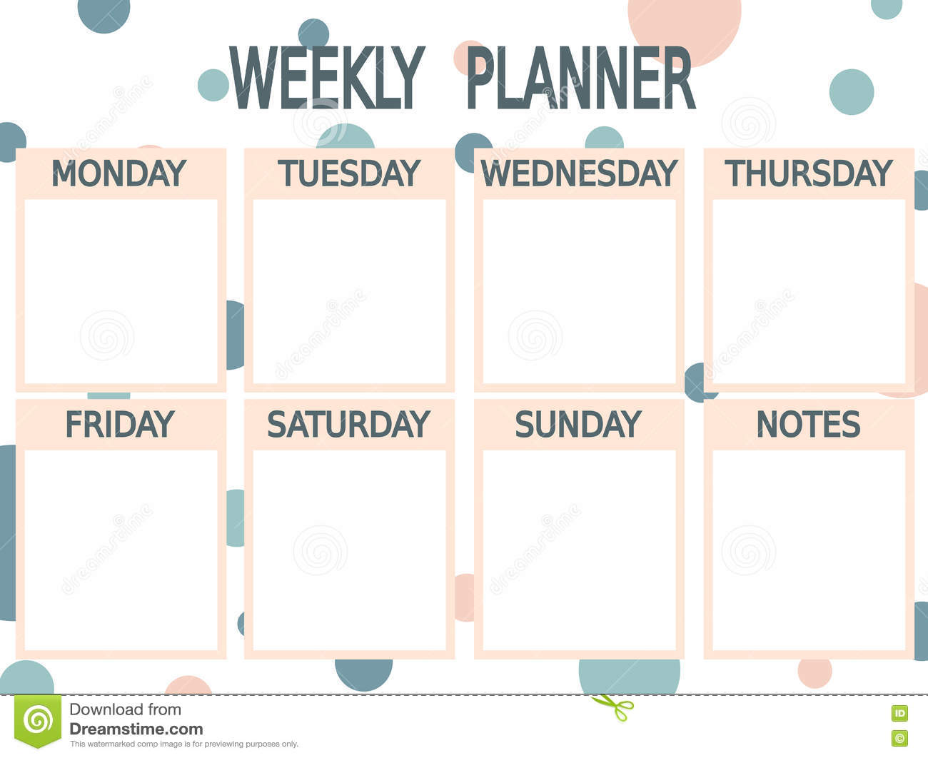 Cute Blue Pink Printable Weekly Planner With Circles Stock