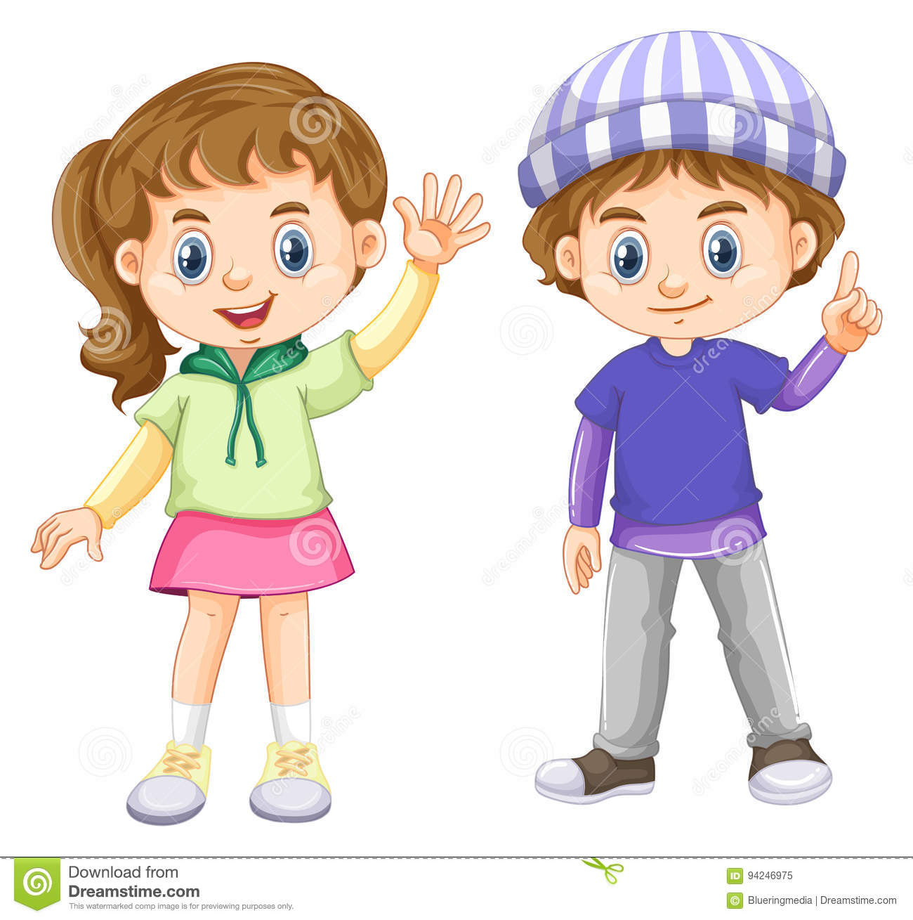 Cute Boy And Girl With Happy Face Stock Vector