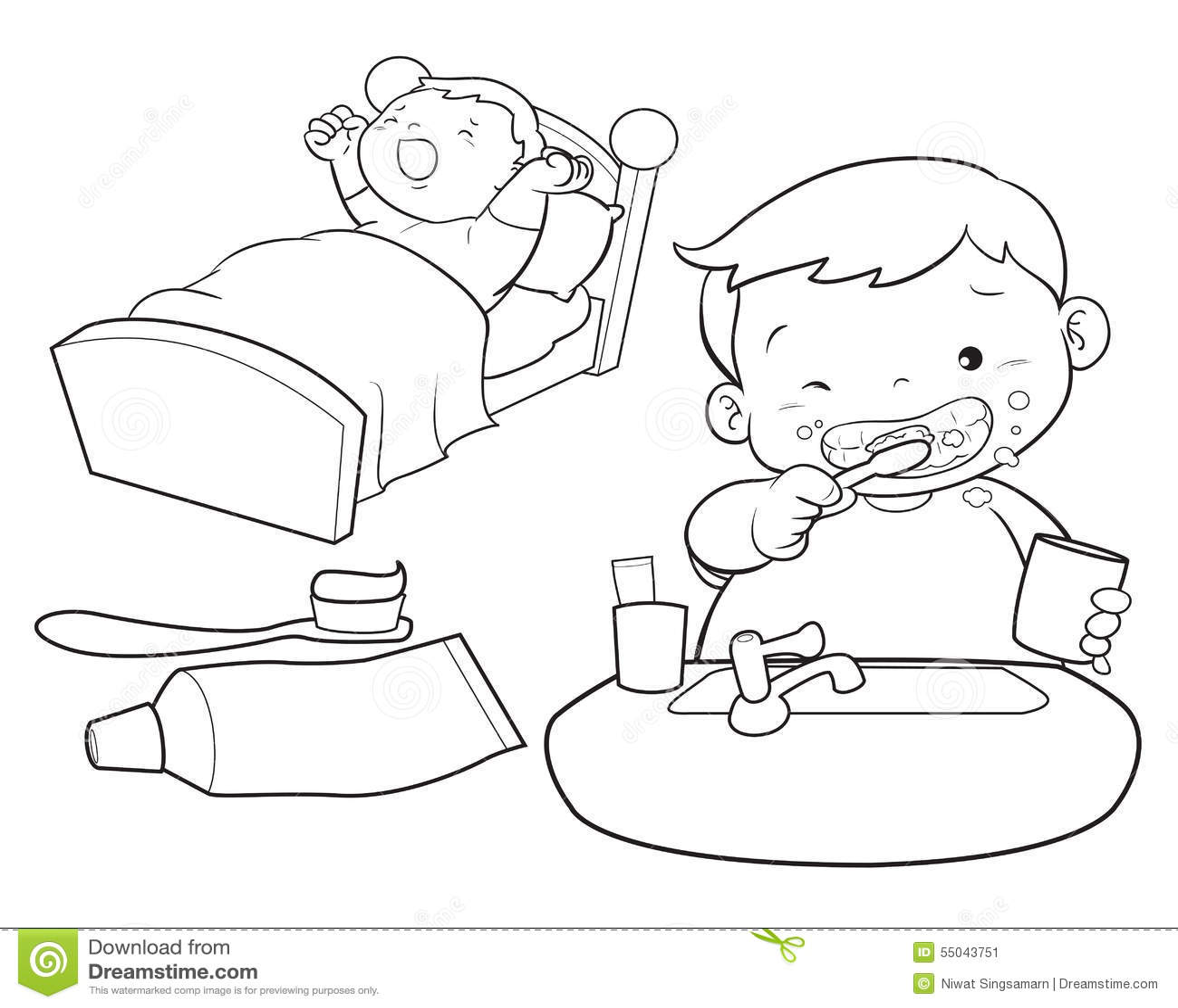 Cute Boy Wakeup Line Art Stock Vector