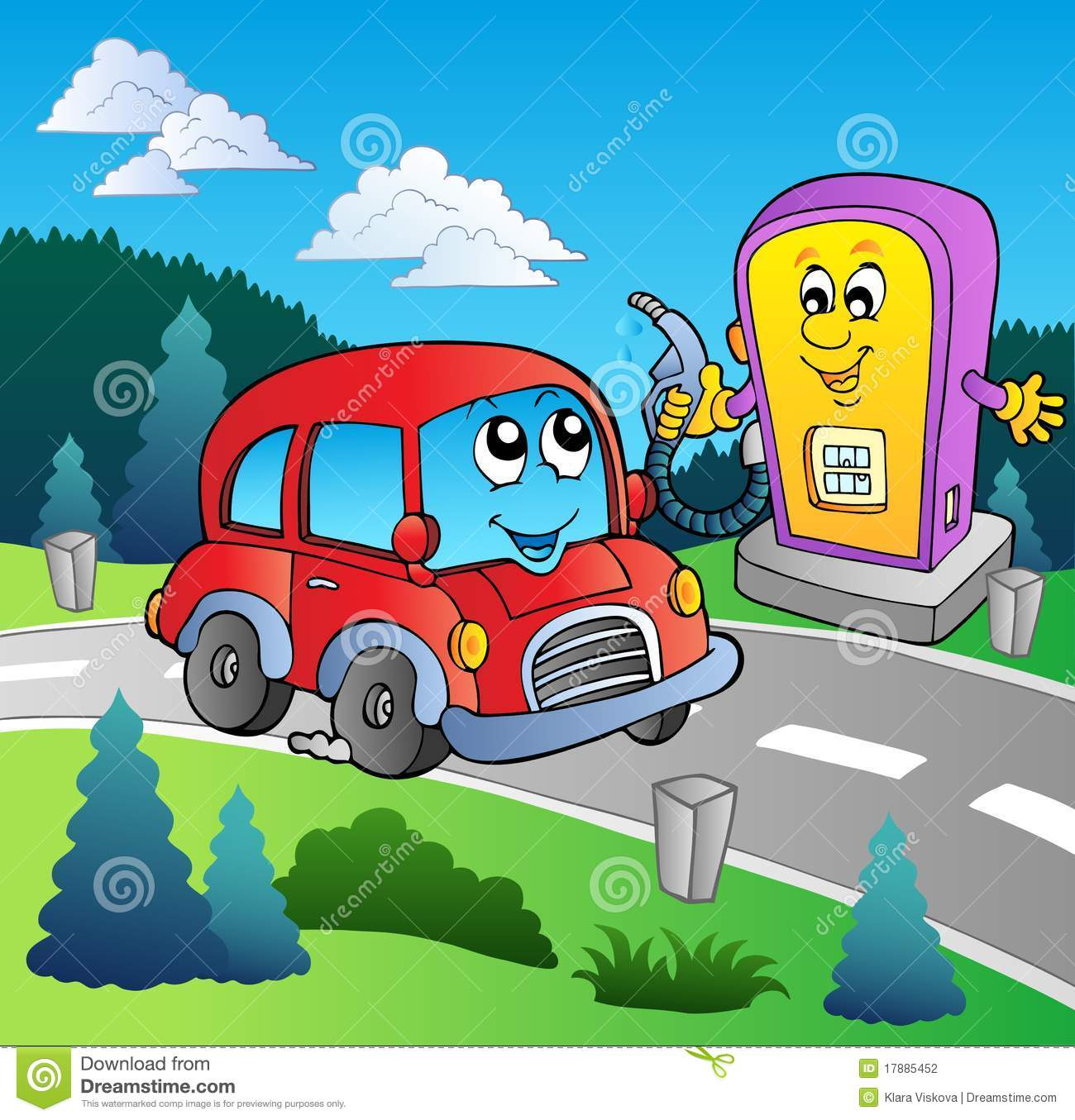 Cute Car At Cartoon Gas Station Stock Vector
