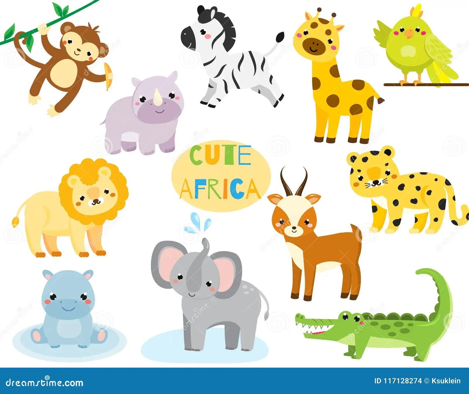 Cute Cartoon African Animals Set Monkey Rhion Lion And