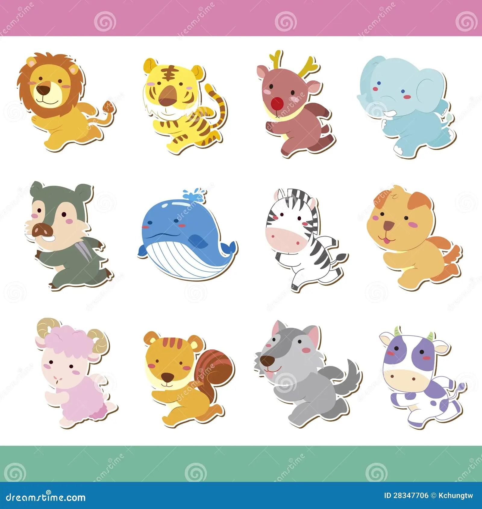 Cute Cartoon Animal Icon Set Royalty Free Stock Image