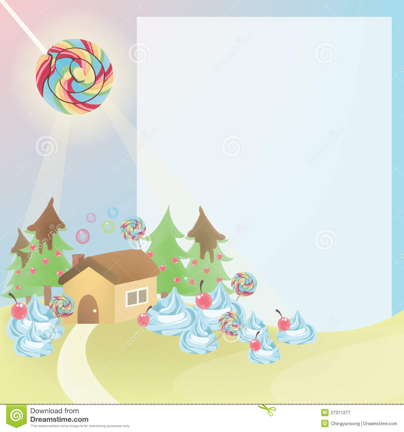 Cute Cartoon Country House Royalty Free Stock Photography