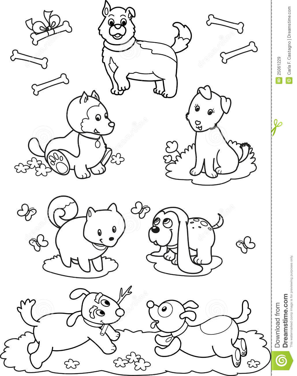 Cute Cartoon Dogs Coloring Page Stock Vector