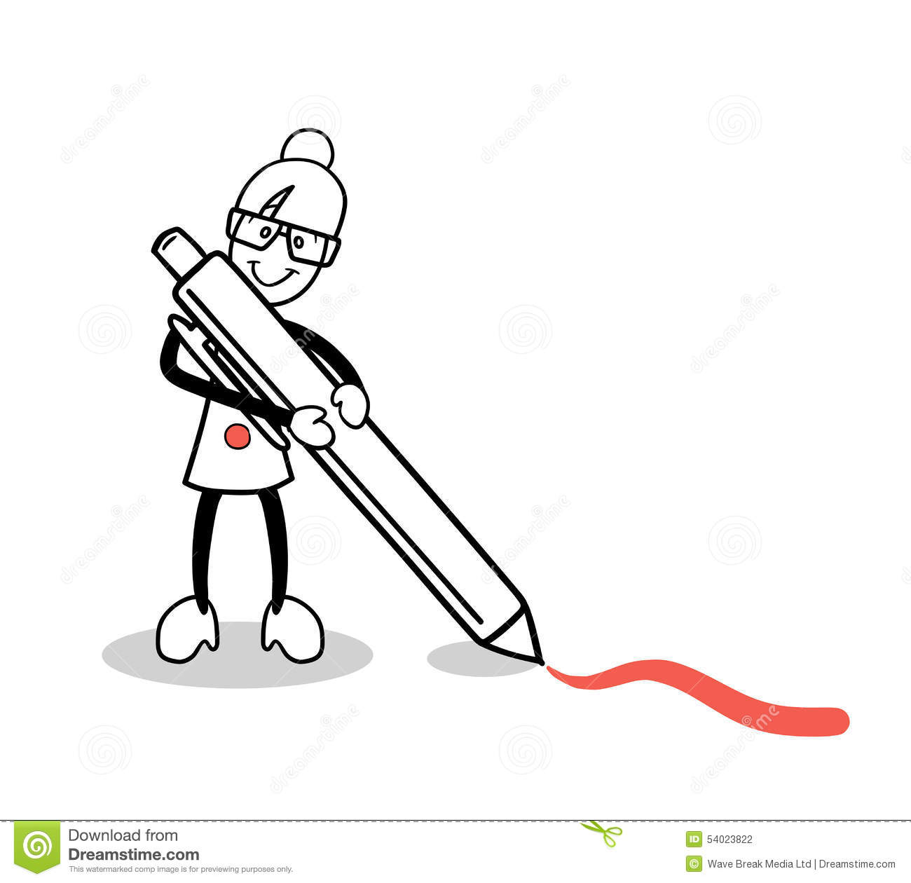Cute Cartoon Drawing With Red Pen Stock Vector
