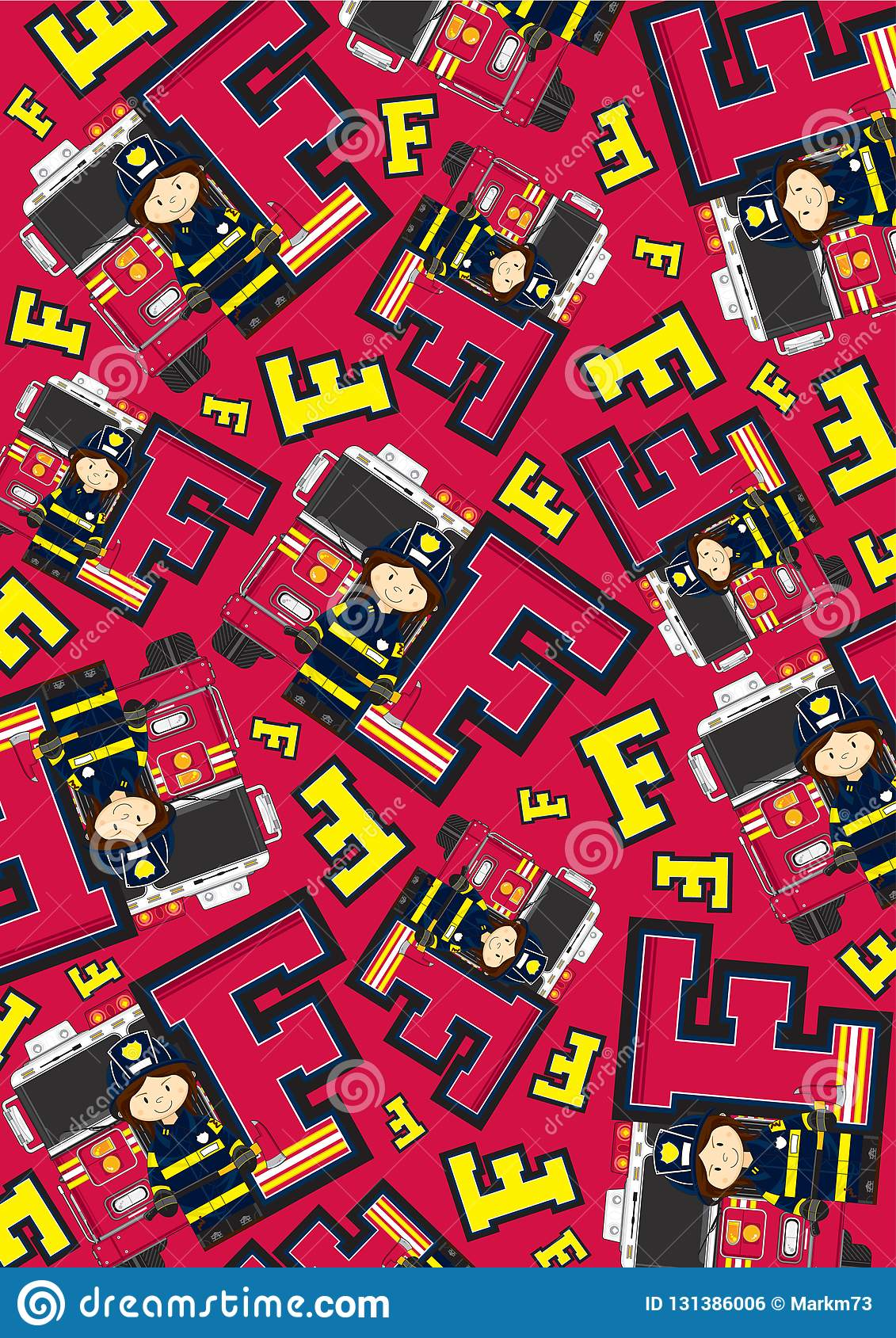 F Is For Fireman Pattern Stock Vector Illustration Of