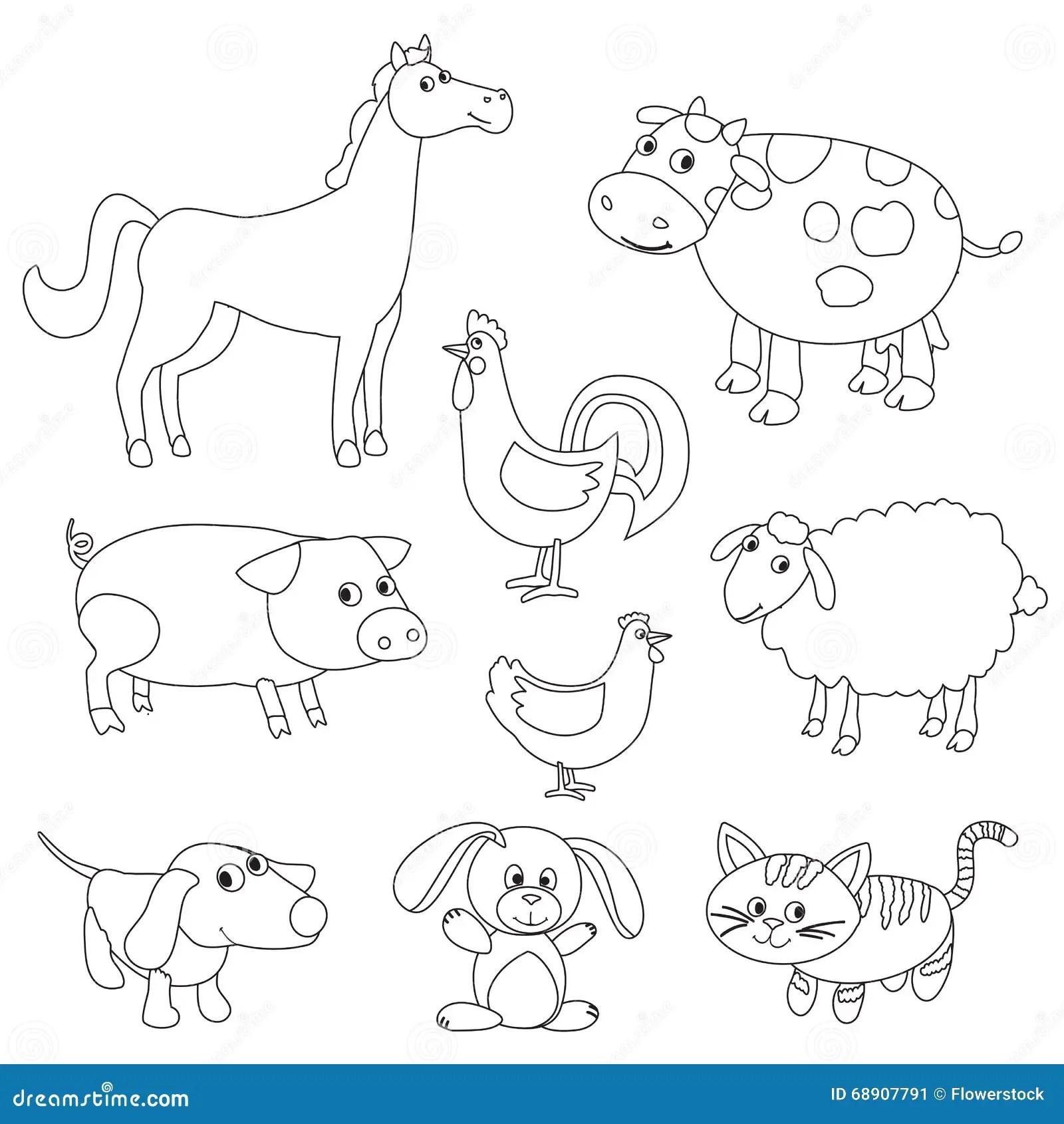 Cute Cartoon Farm Animals And Birds For Coloring Book