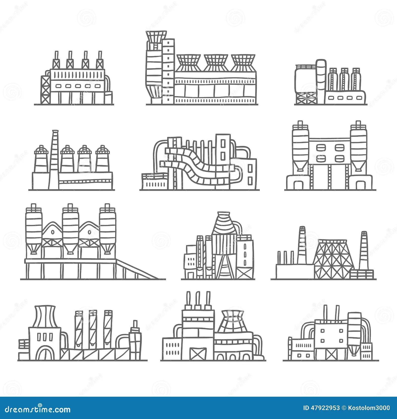 Cute Cartoon Hand Drawn Doodle Factory Set Stock Vector