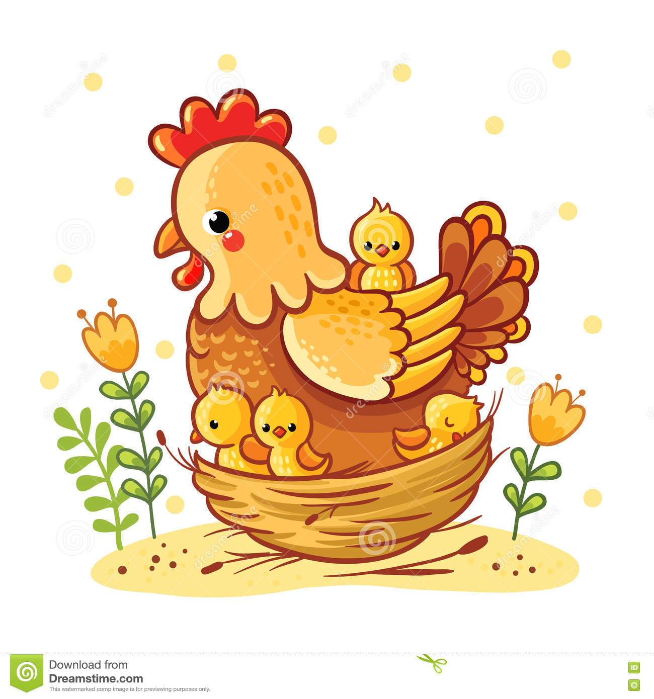 Cute Cartoon Hen With Chickens Sitting In A Basket Stock