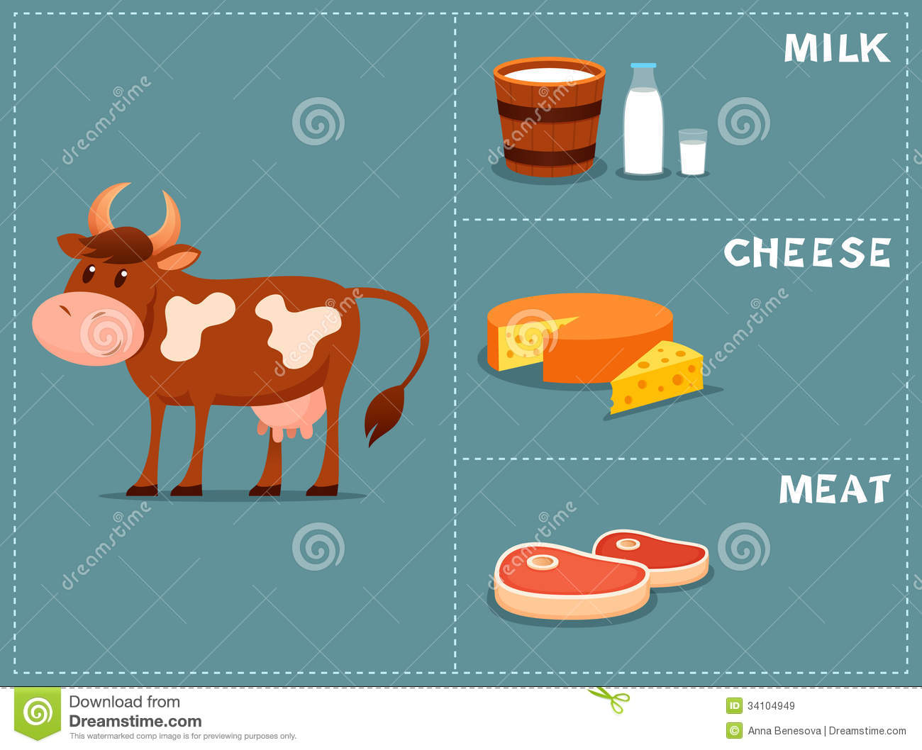 Cute Cartoon Illustration Of A Cow Royalty Free Stock