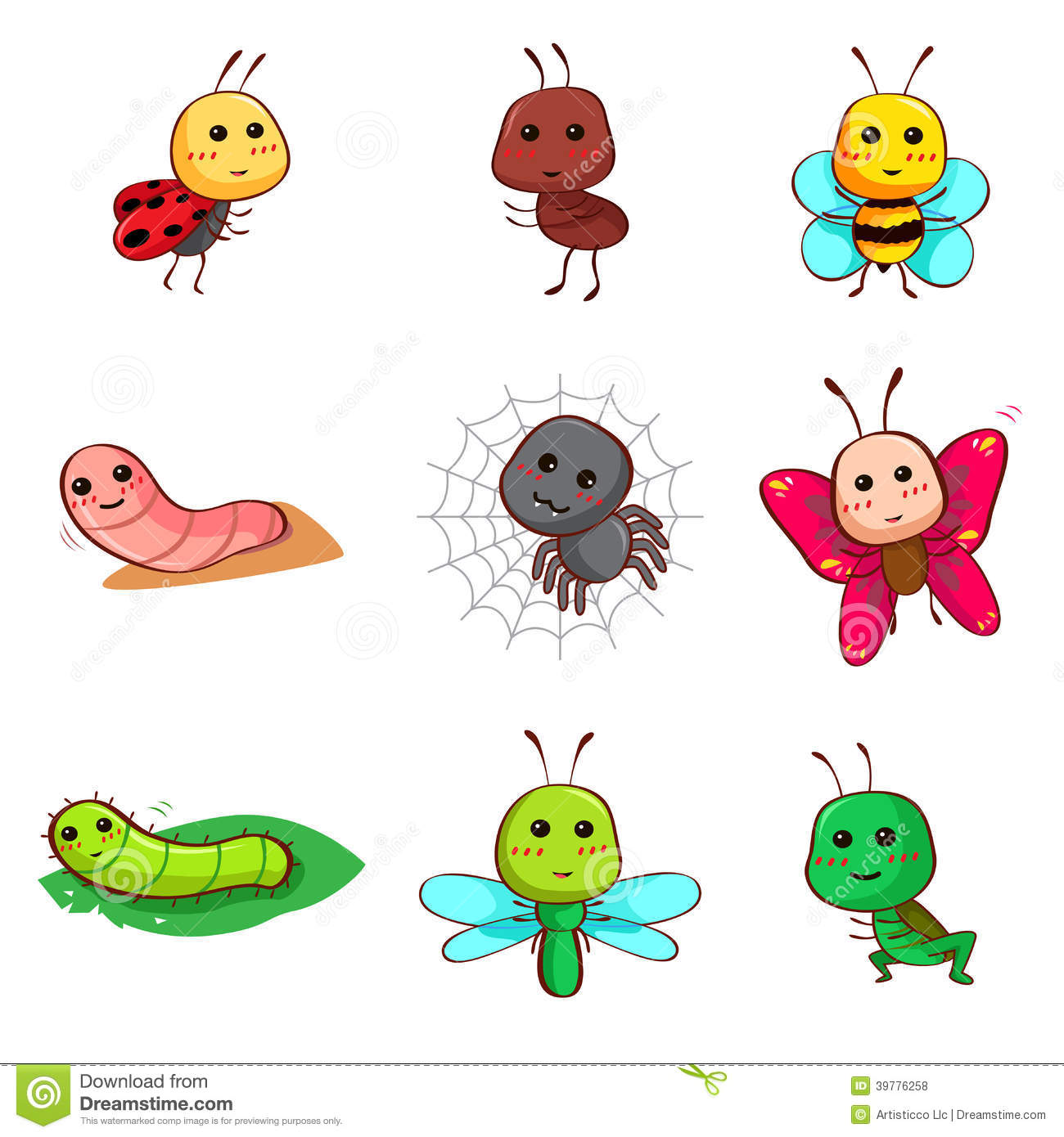 Cute Cartoon Insects And Bugs Stock Vector