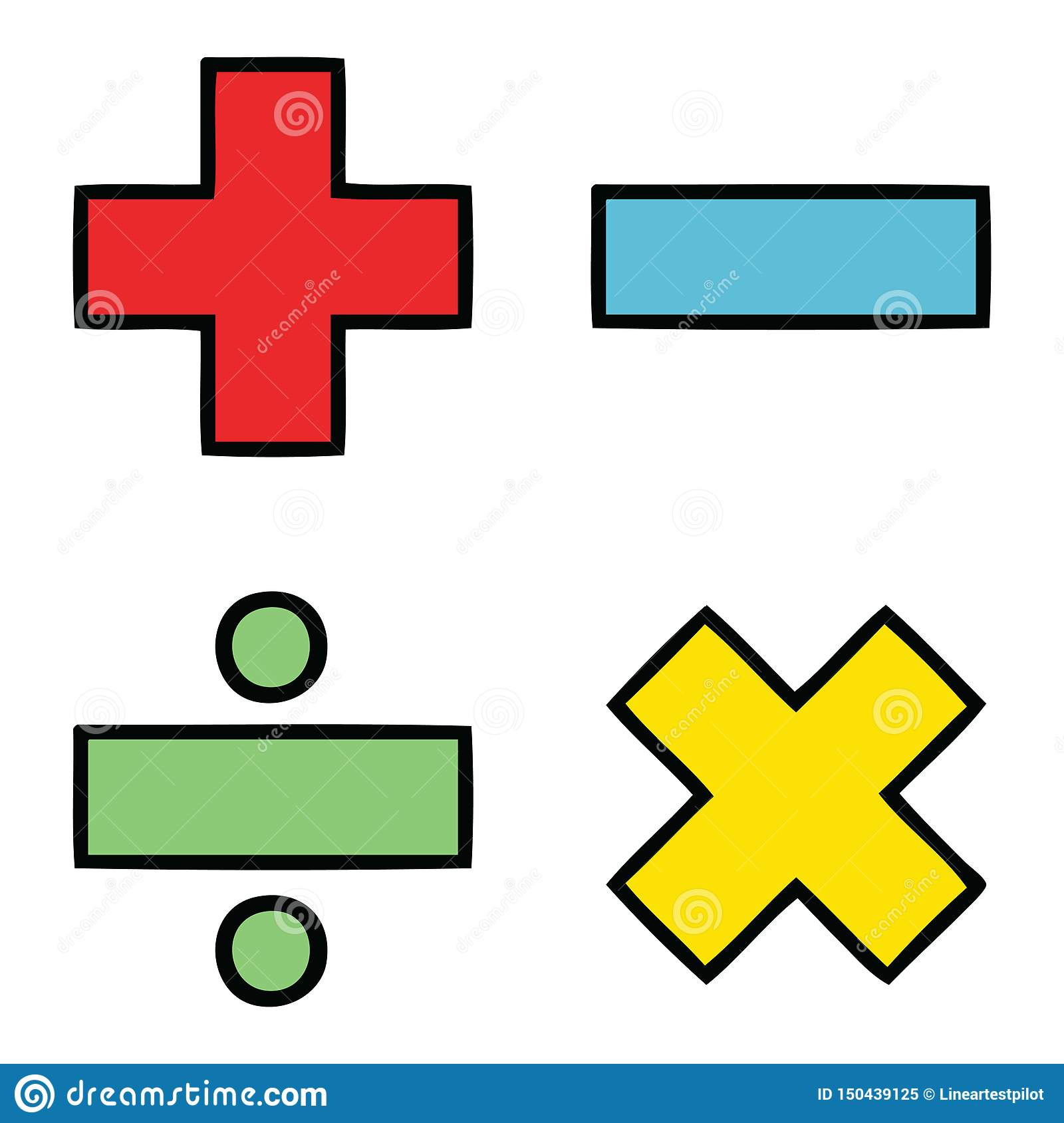 Cute Cartoon Of A Math Symbols Stock Vector