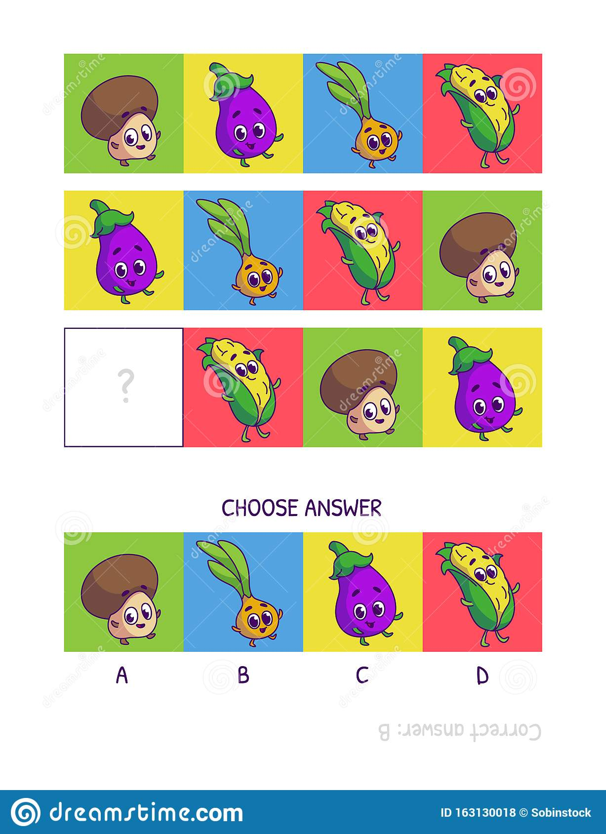 Cute Champignon Eggplant Onion Corn Logic Game For
