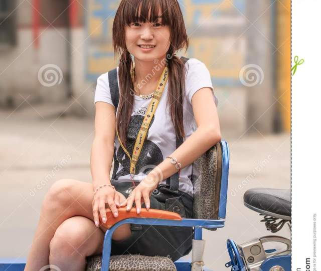 Cute Chinese Girl Sit On Het Trike Zhuozhou Hebei Province China