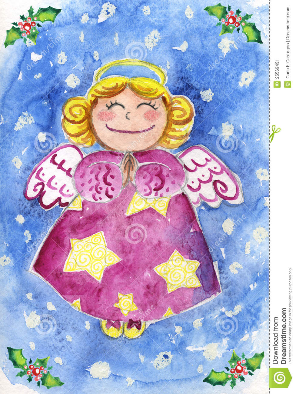 Cute Christmas Angel Watercolor Stock Illustration Image