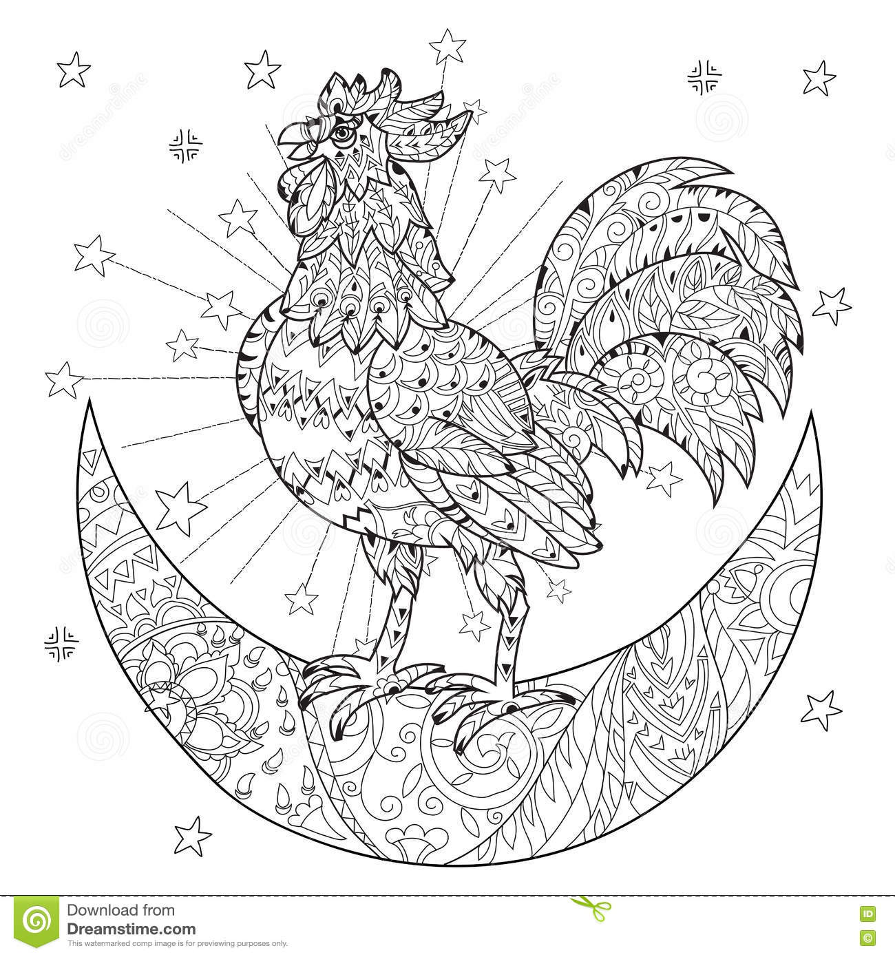 Cute Cock Rooster On Christmas Half Moon Stock Vector