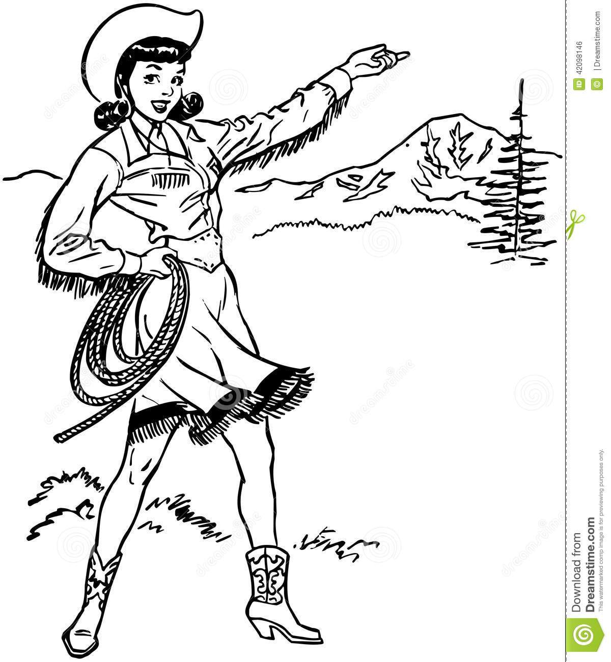 Cute Cowgirl Stock Vector Illustration Of Saleswoman