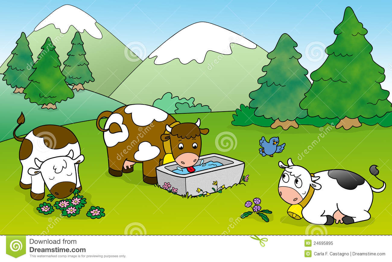 Cute Cows Illustration For Kids Royalty Free Stock Photo
