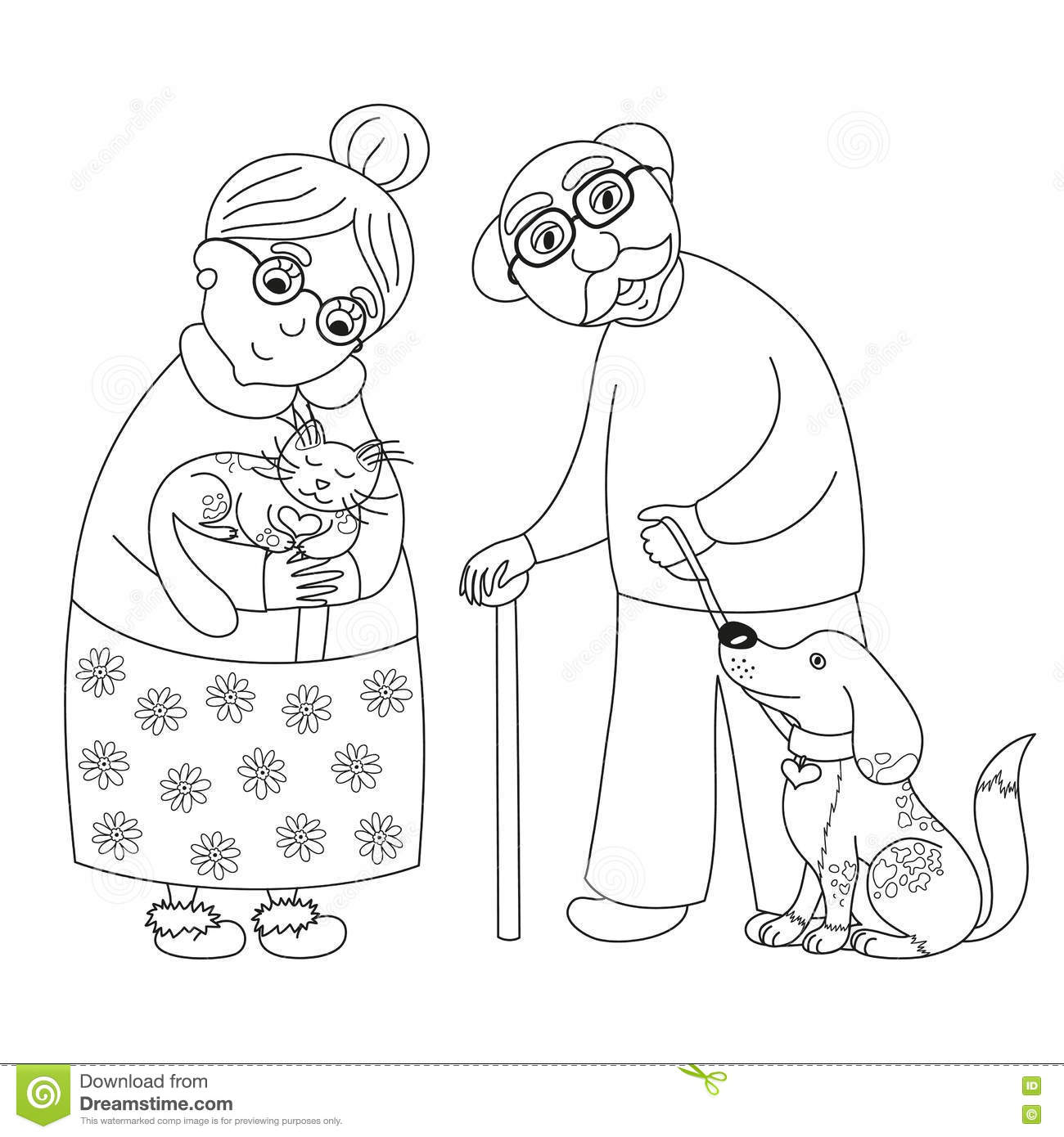 Cute Darling Grandmother And Grandfather Coloring Book