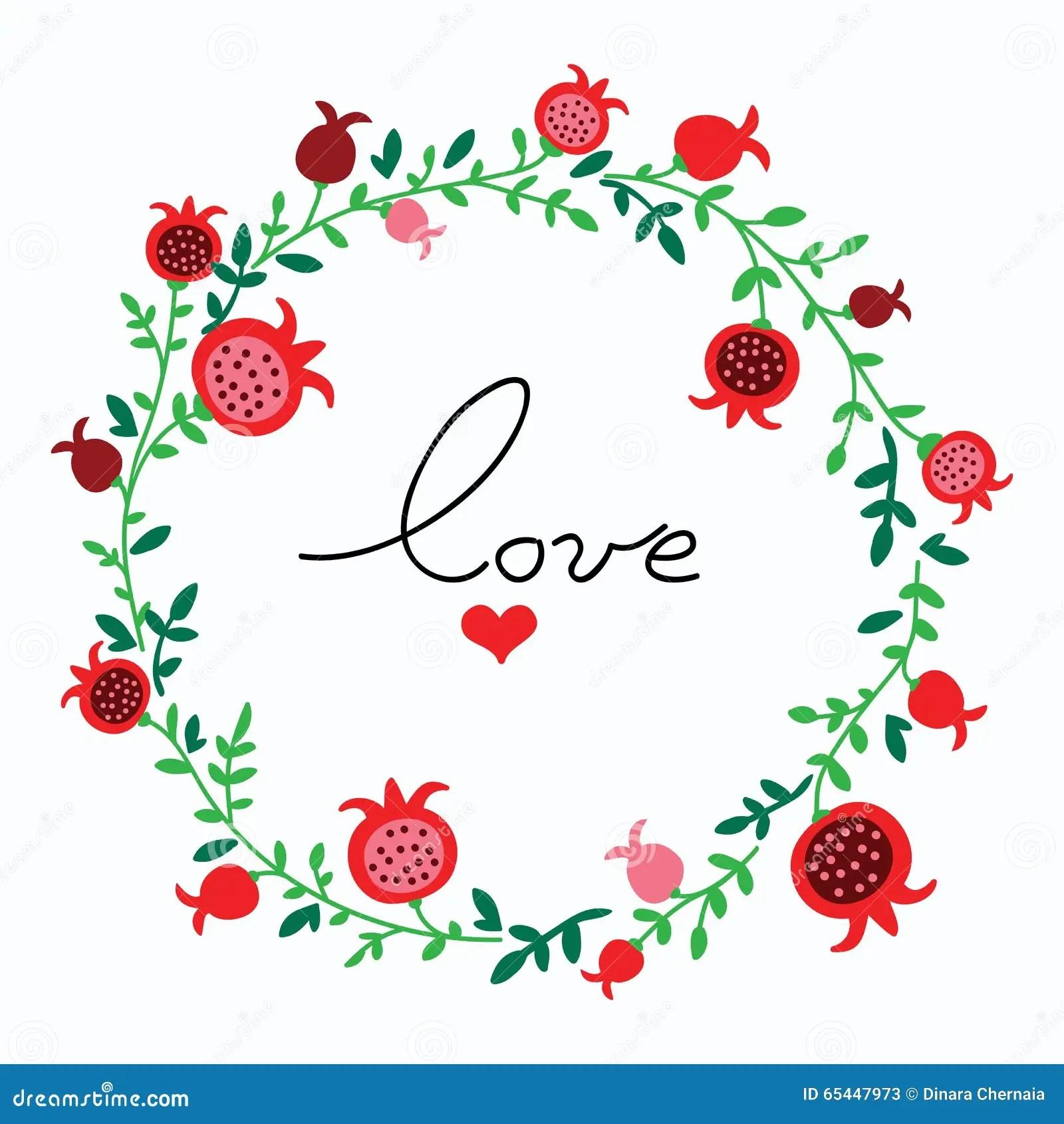 Cute Doodle Pomegranate Wreath Vector Illustration Stock