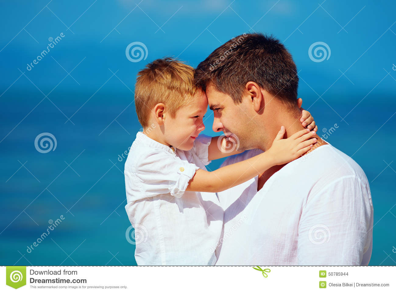 Cute Father And Son Embracing Family Relationship Stock