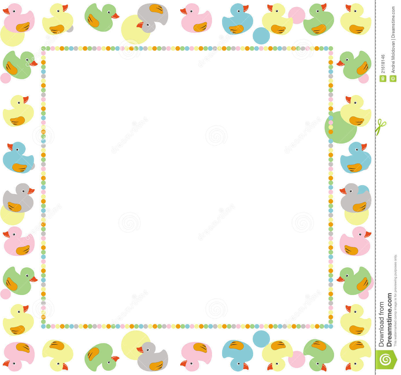 Cute Frame For Children Made With Ducks Vector Stock