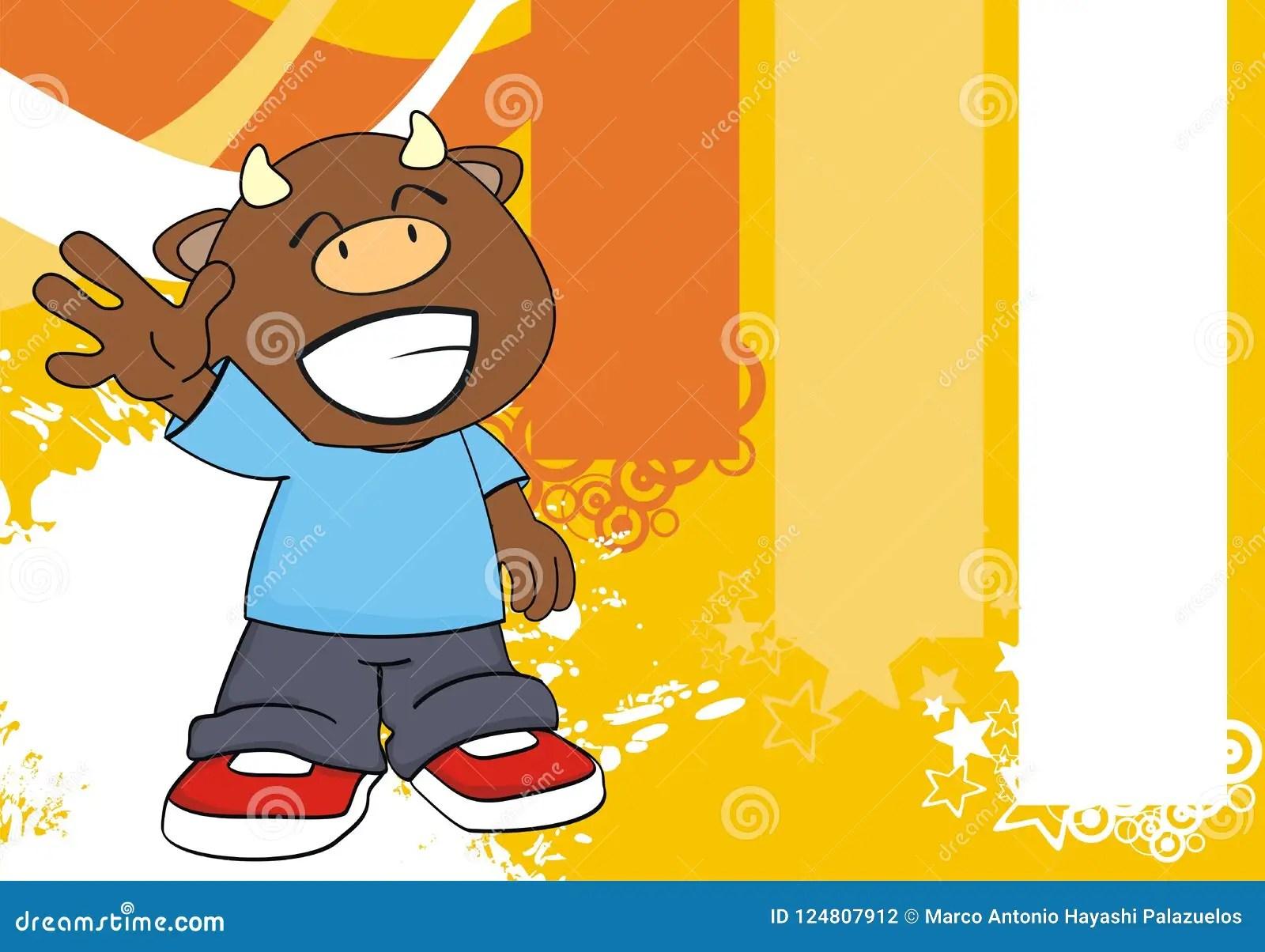 Happy Bull Kid Cartoon Background Stock Vector