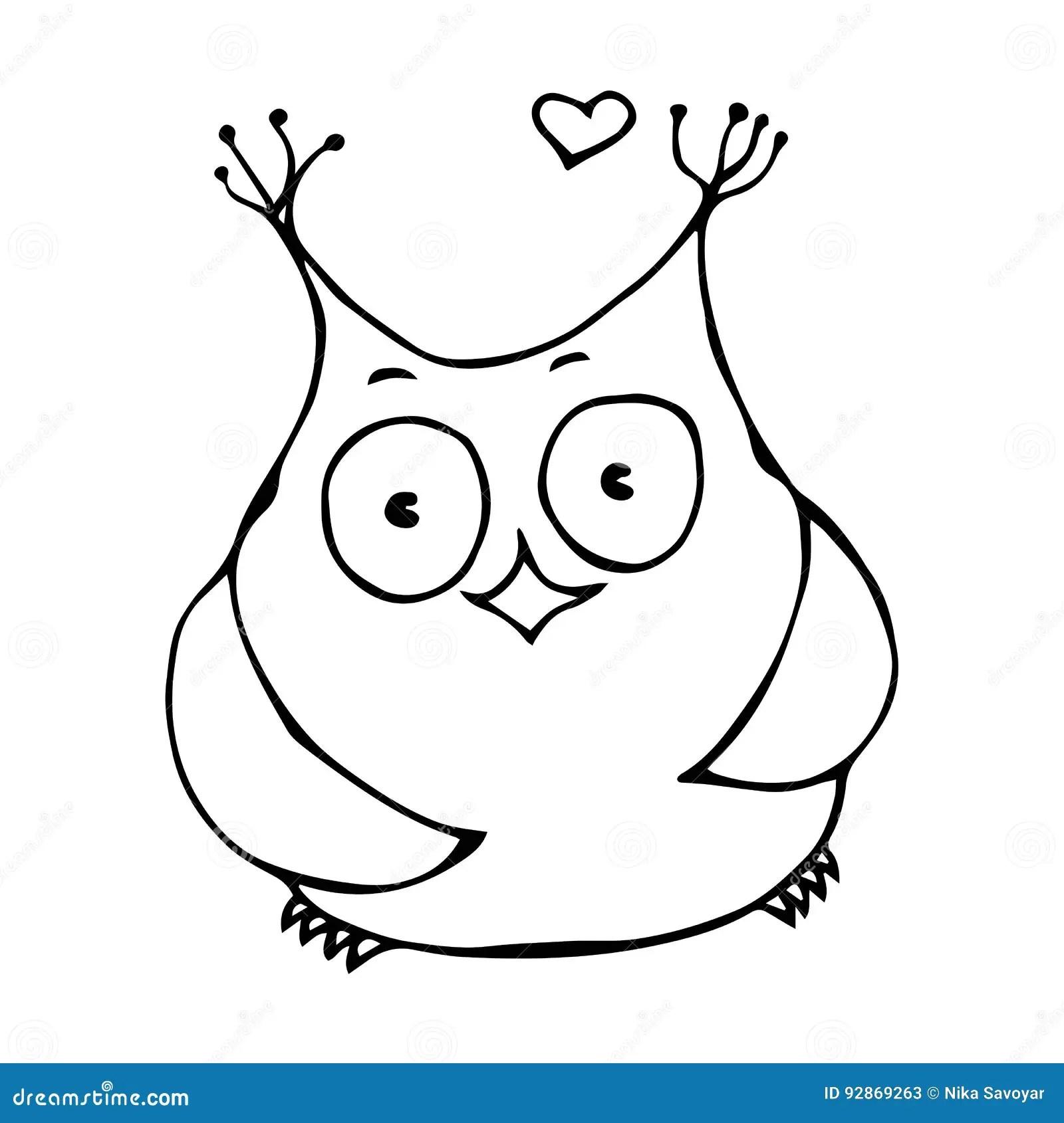 Cartoon Character Funny Owl Vector Illustration