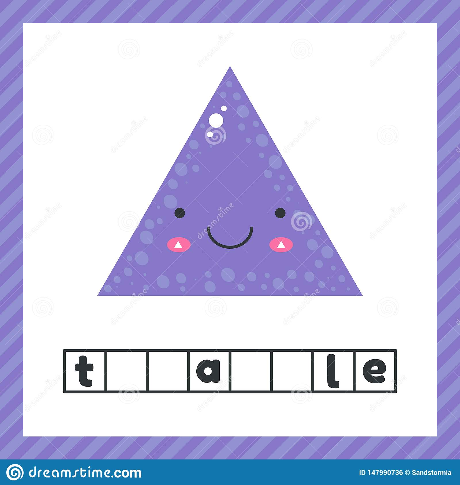 Cute Geometric Figures For Kids Violet Shape Triangle