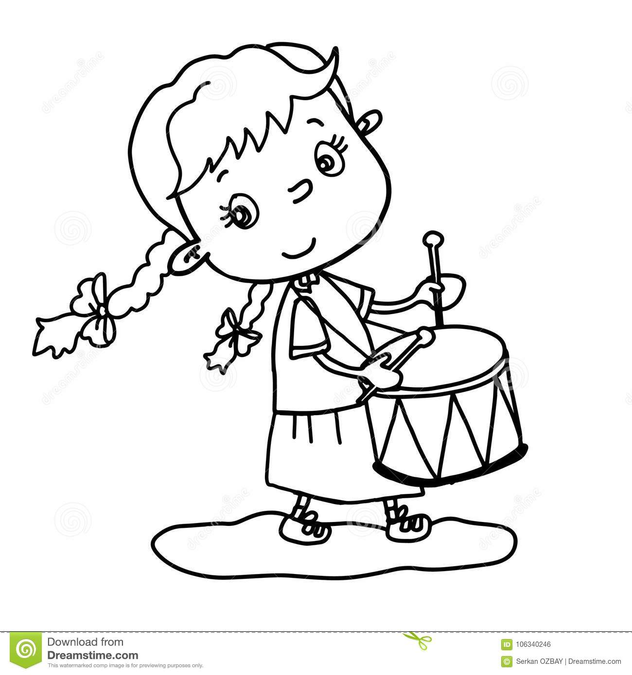 Cute Little Girl Playing Drum Vector Illustration