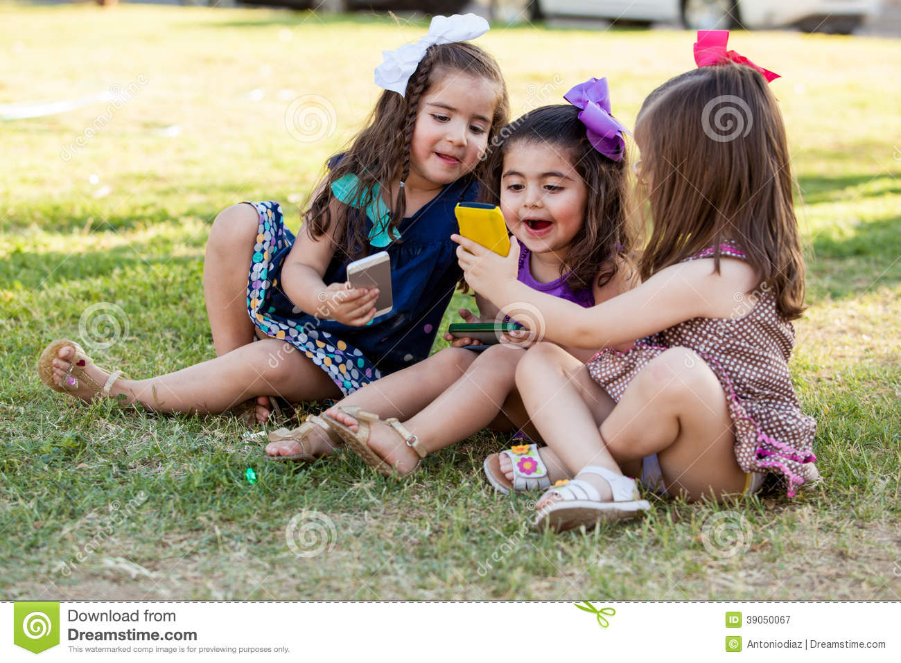 Cute Girls Social Networking Together Stock Image