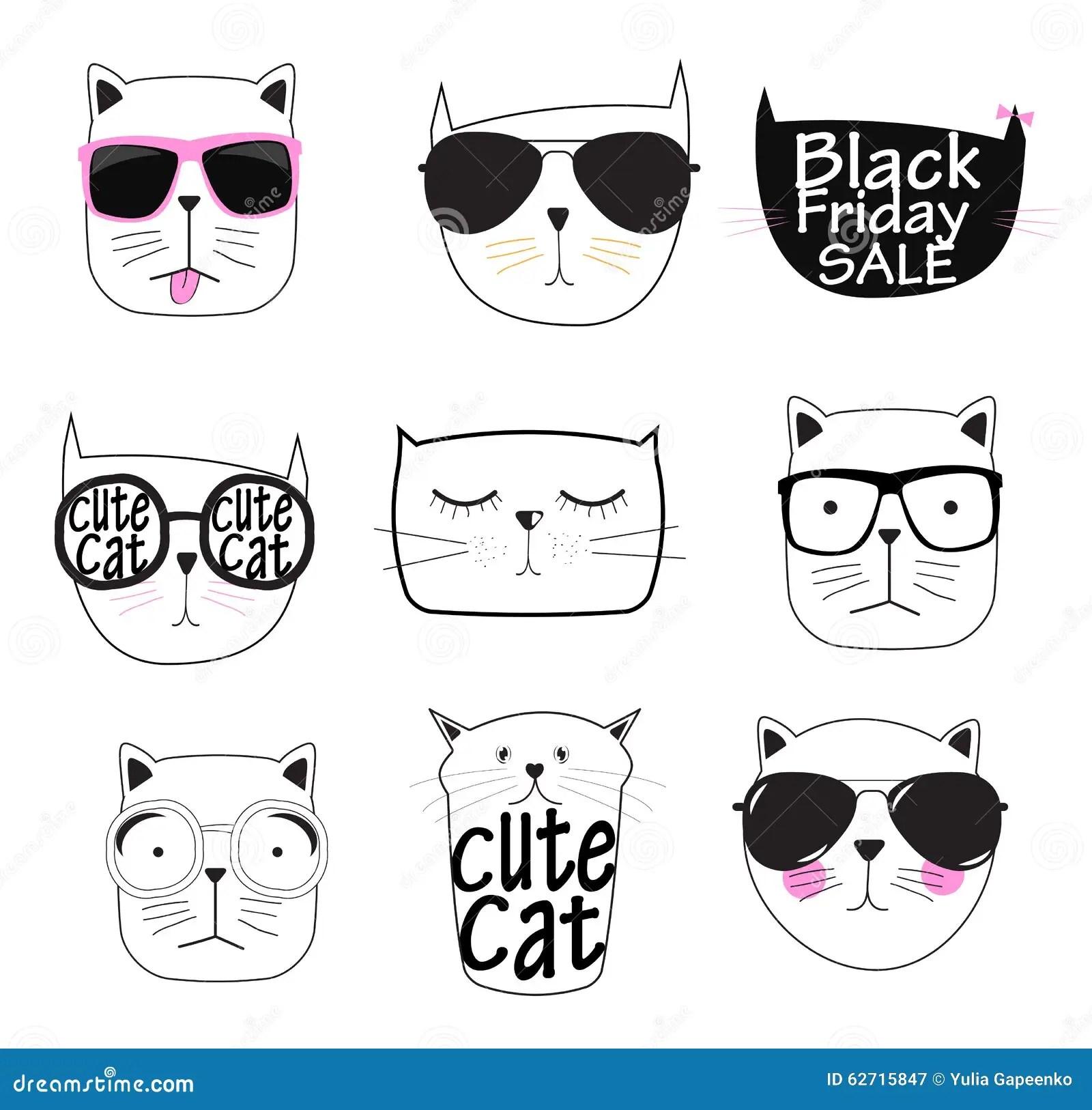 Cute Handdrawn Cat Set Vector Illustration Stock Vector