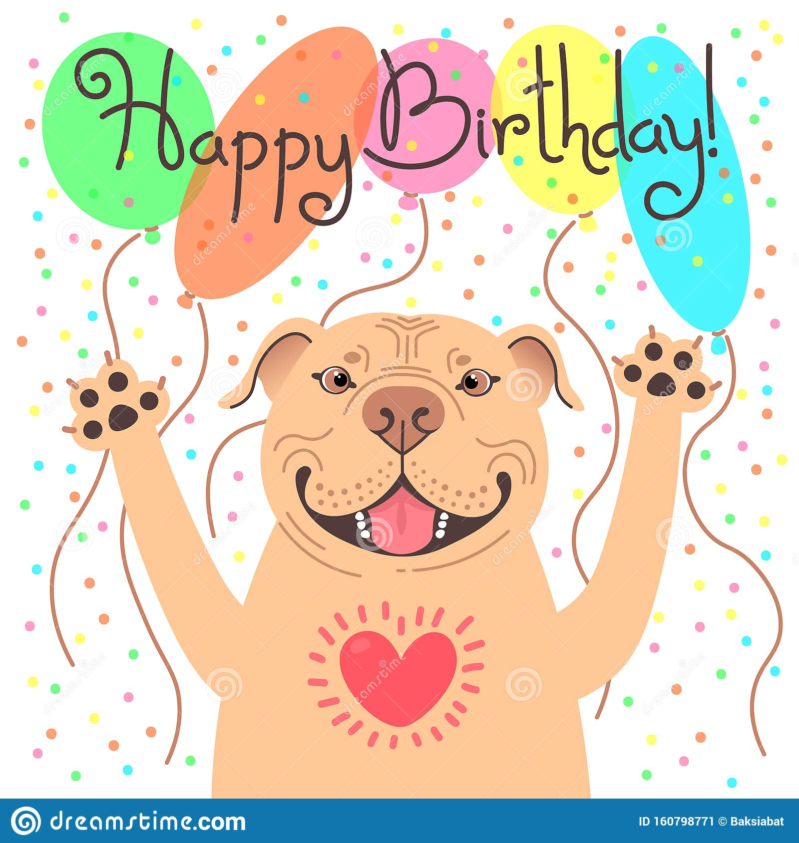 Cute Happy Birthday Card With Funny Puppy Pit Bull Loving American Staffordshire Pitbull Terrier Dog And Balloons Stock Vector Illustration Of Happiness Banner 160798771