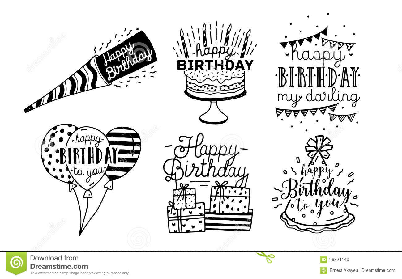 Cute Happy Birthday Greetings Inscriptions Design