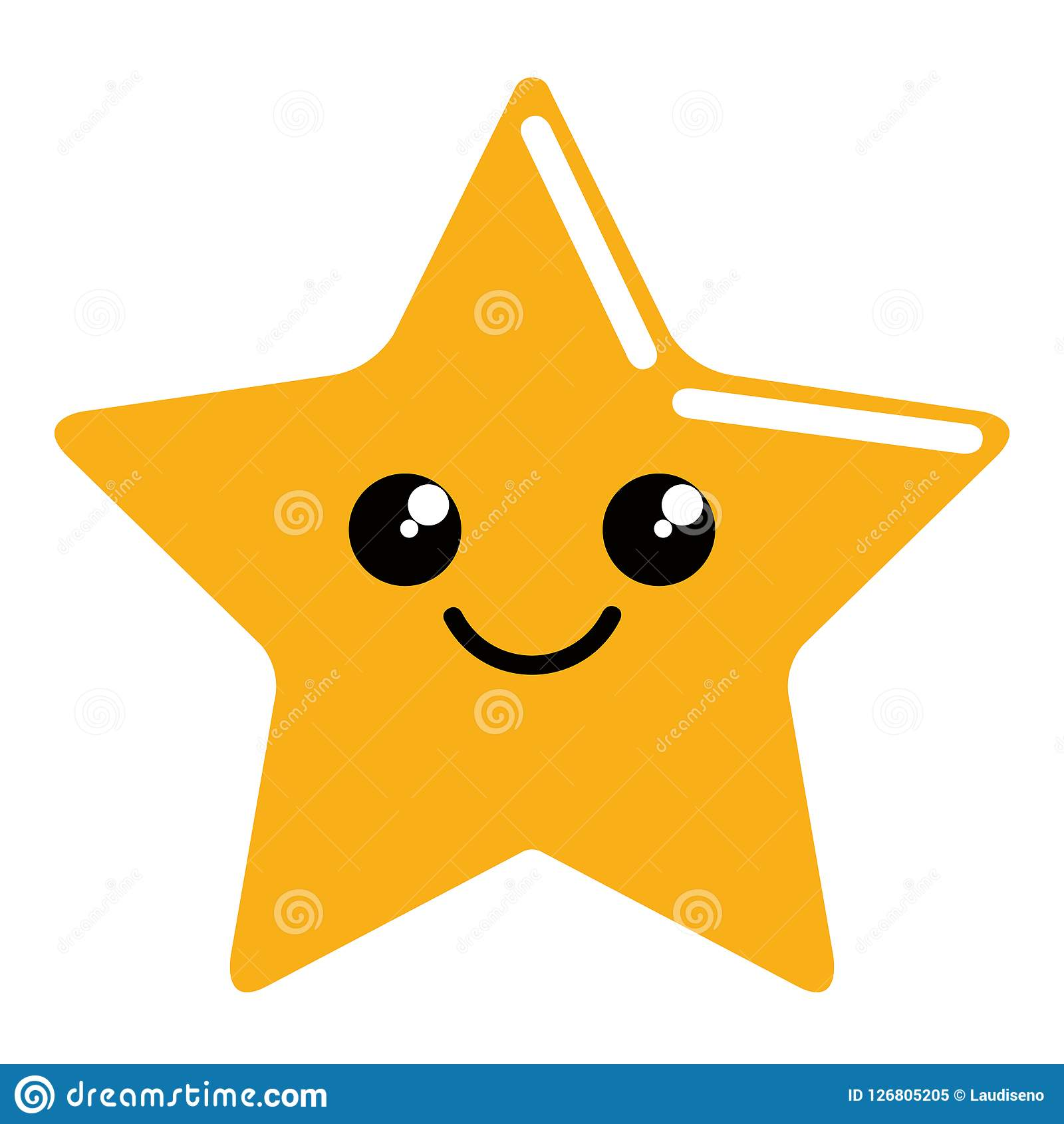 Cute Happy Star Shape Icon Stock Vector Illustration Of Shape 126805205