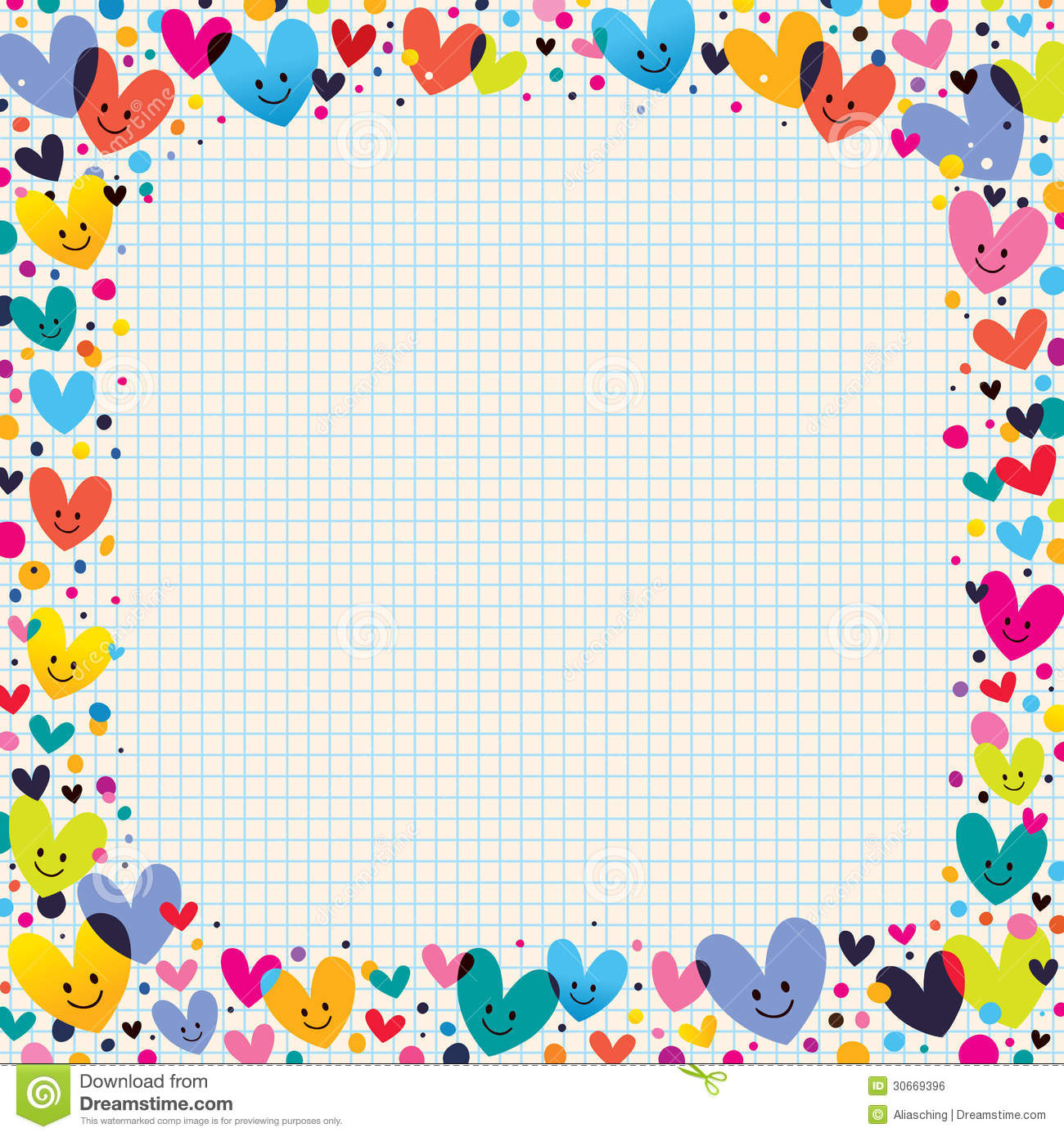 Cute Hearts Border Stock Vector Illustration Of Cartoon