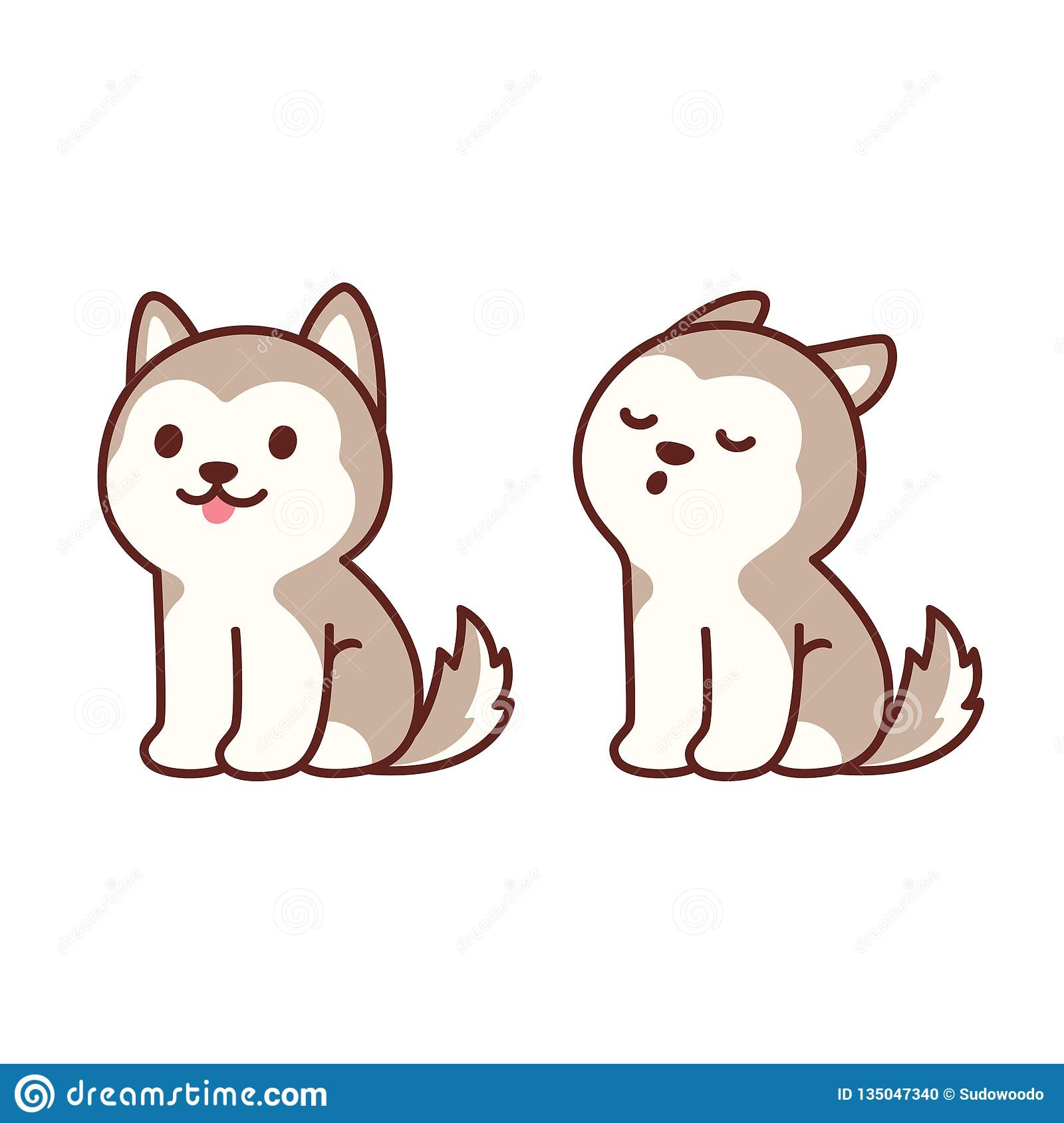 Cute Husky Puppy Howling Stock Vector Illustration Of Puppy 135047340