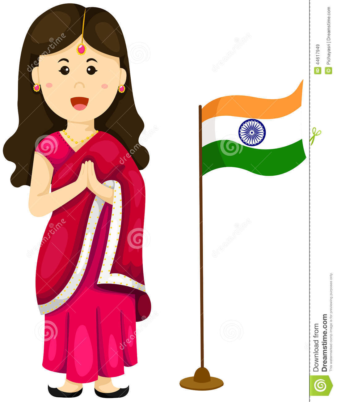 Cute Indian Girl In Traditional Dress Stock Vector