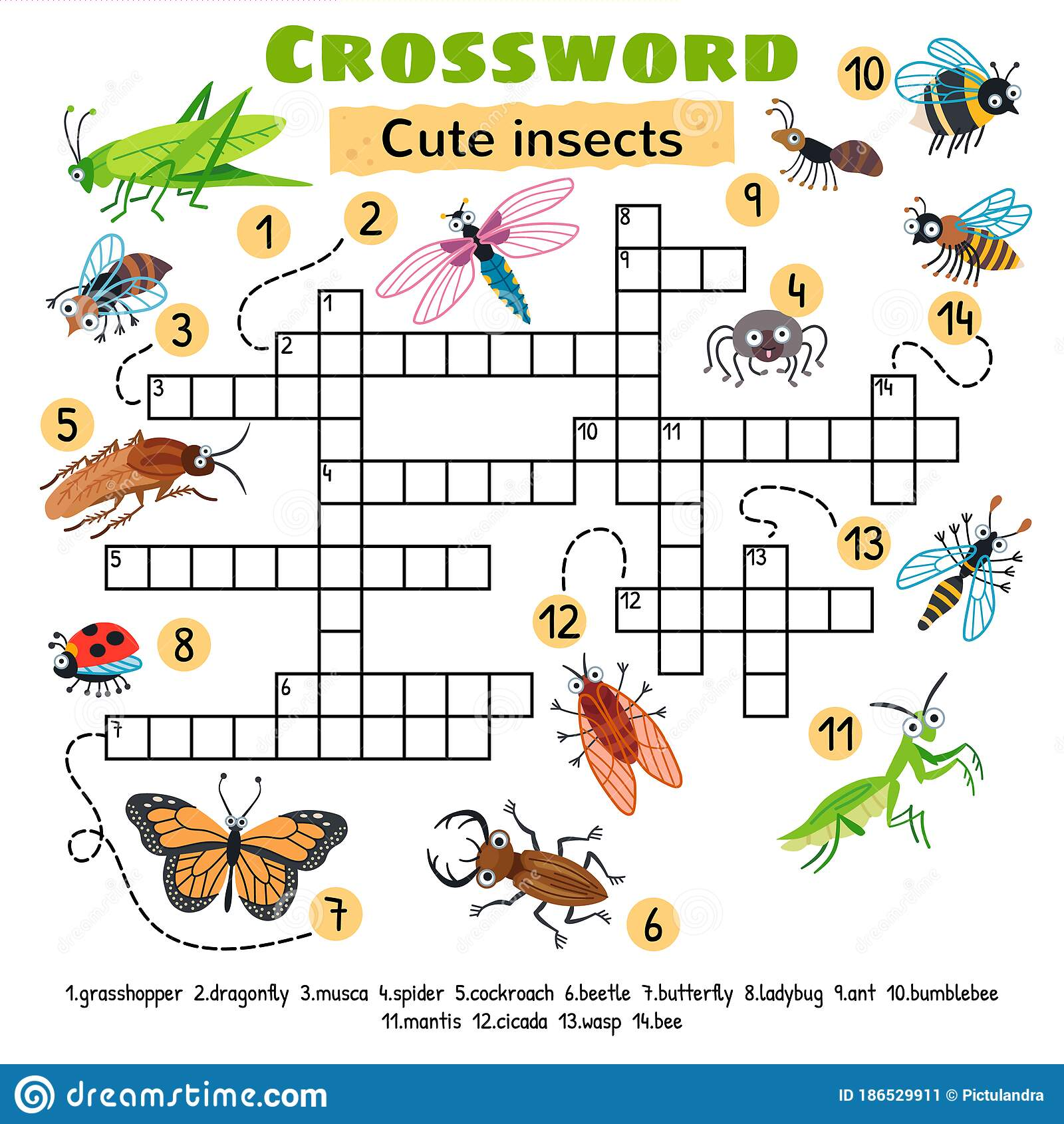 Cute Insects Crossword Game For Preschool Kids Stock