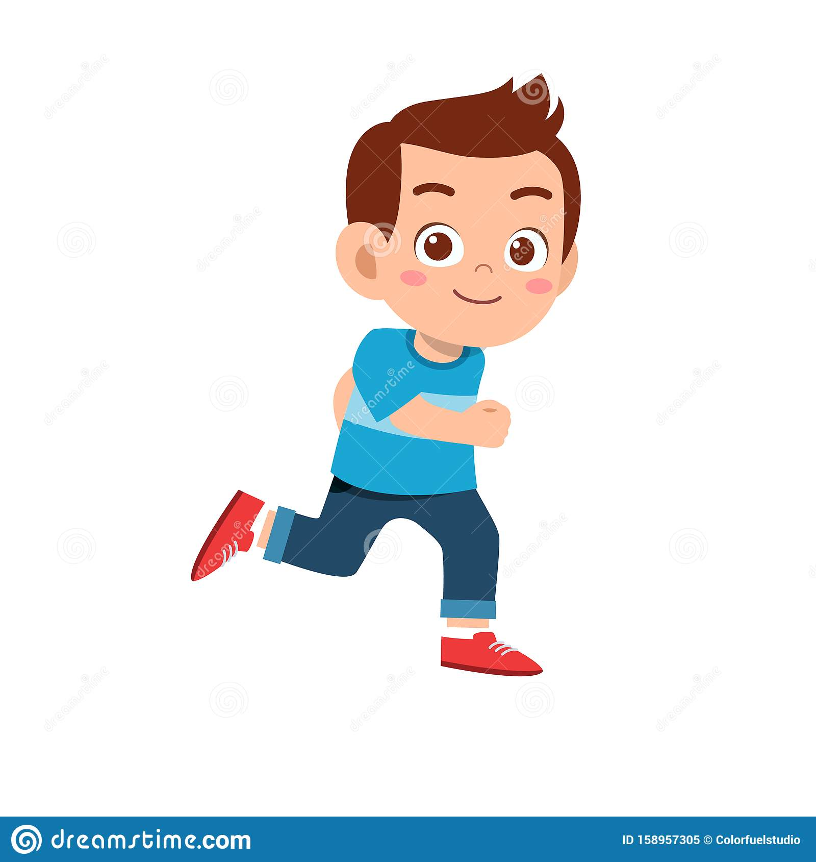 Cute Kid Teen Boy Show Facial Expression Stock Vector